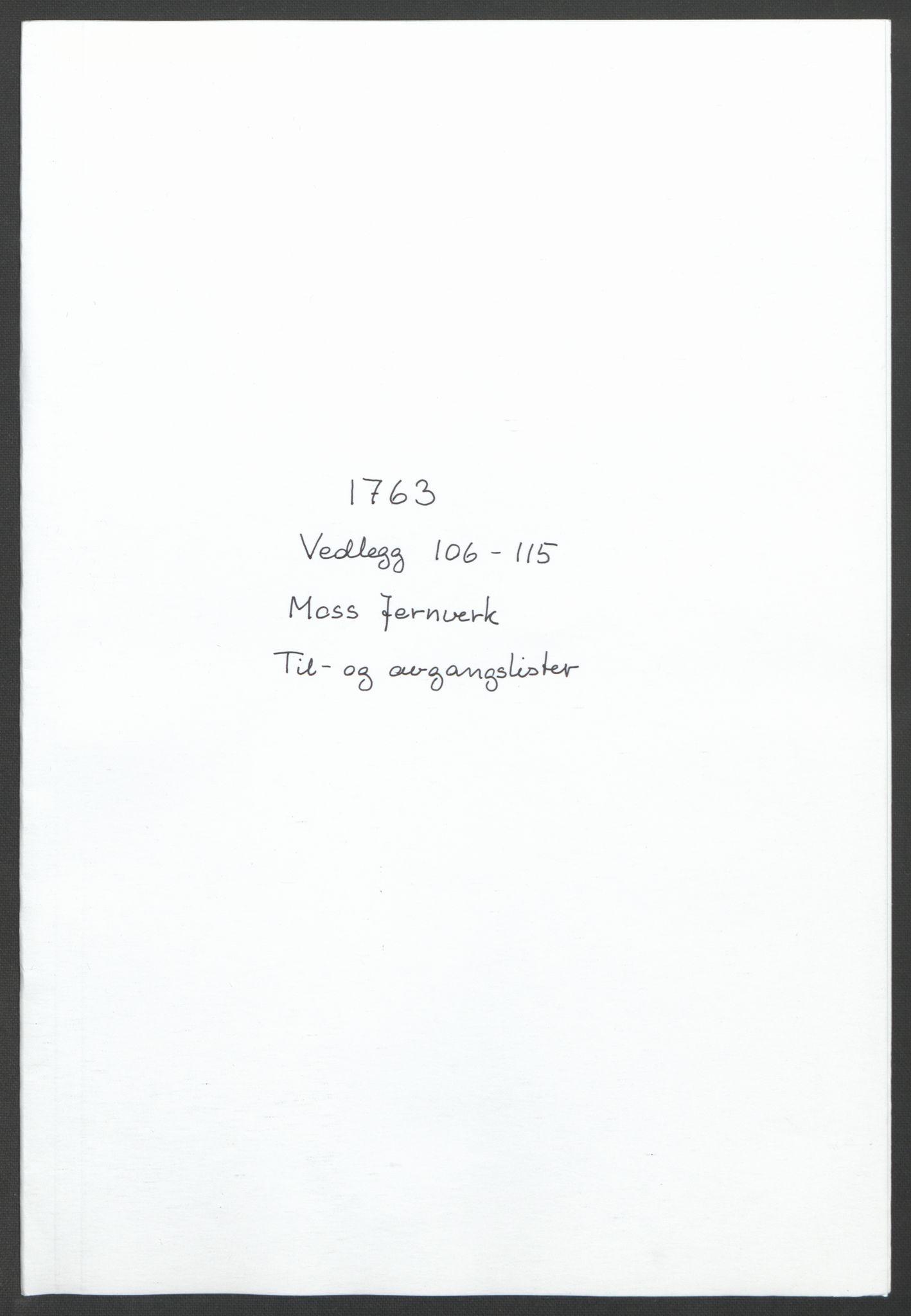 RA, Rentekammeret inntil 1814, Reviderte regnskaper, Fogderegnskap, R04/L0261: Ekstraskatten Moss, Onsøy, Tune, Veme og Åbygge, 1763, s. 287