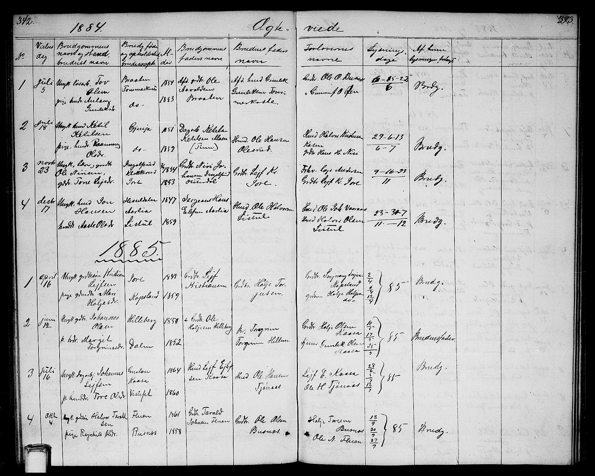 SAKO, Gransherad kirkebøker, G/Ga/L0002: Klokkerbok nr. I 2, 1854-1886, s. 342-343