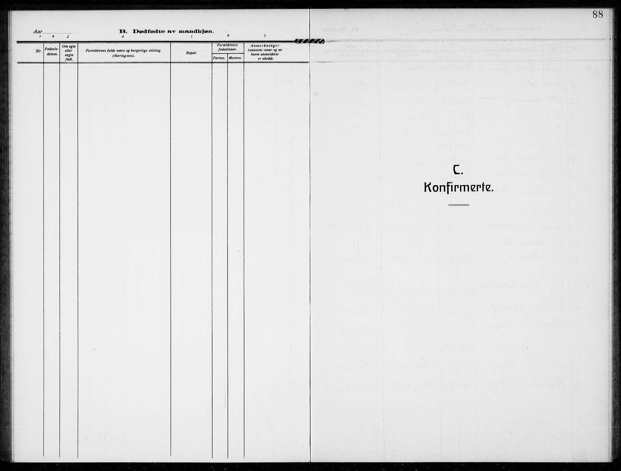 SAKO, Bamble kirkebøker, F/Fc/L0001: Ministerialbok nr. III 1, 1909-1916, s. 88