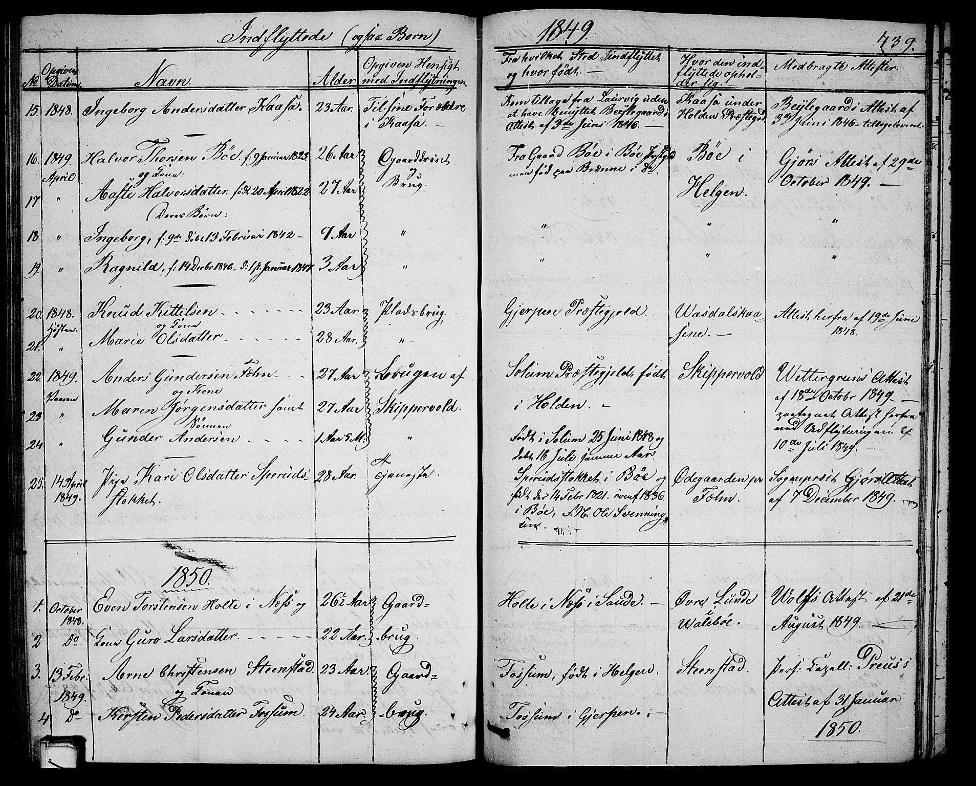 SAKO, Holla kirkebøker, G/Ga/L0003: Klokkerbok nr. I 3, 1849-1866, s. 439