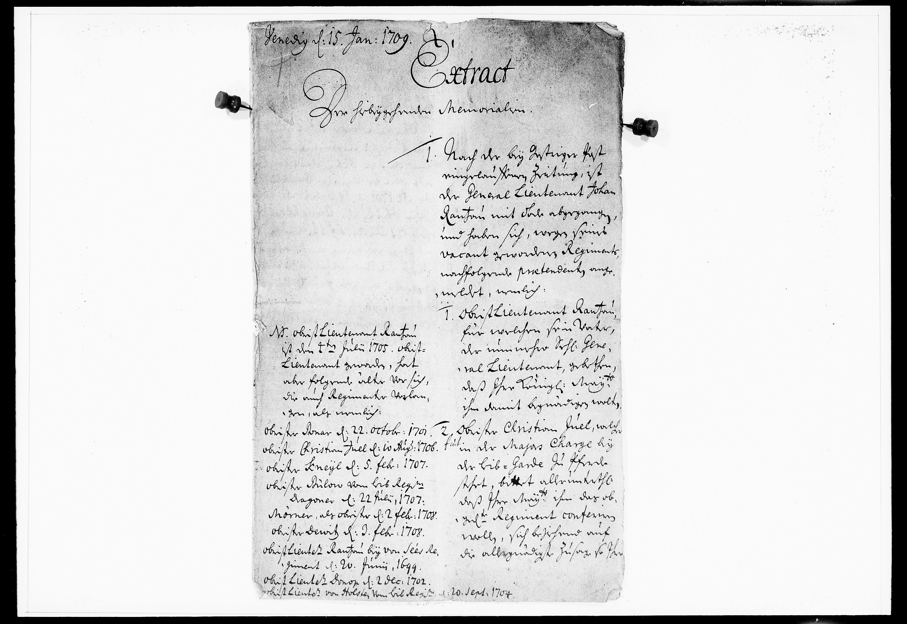 DRA, Krigskollegiet, Krigskancelliet, -/0966-0969: Refererede sager, 1709, s. 2