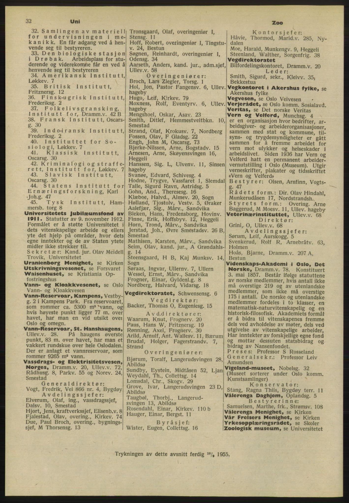 PUBL, Kristiania/Oslo adressebok, 1955, s. 32