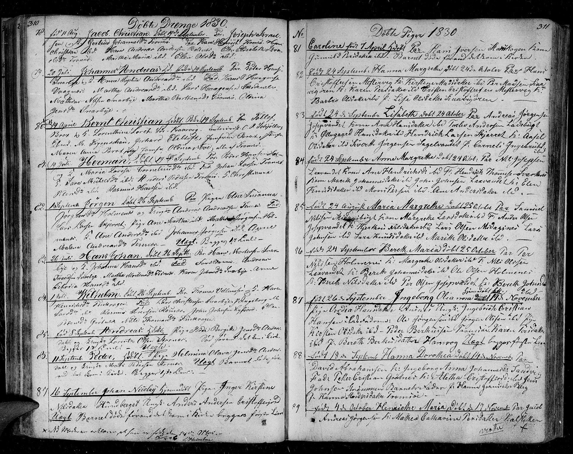 SATØ, Tromsø sokneprestkontor/stiftsprosti/domprosti, G/Ga/L0008kirke: Ministerialbok nr. 8, 1829-1837, s. 310-311