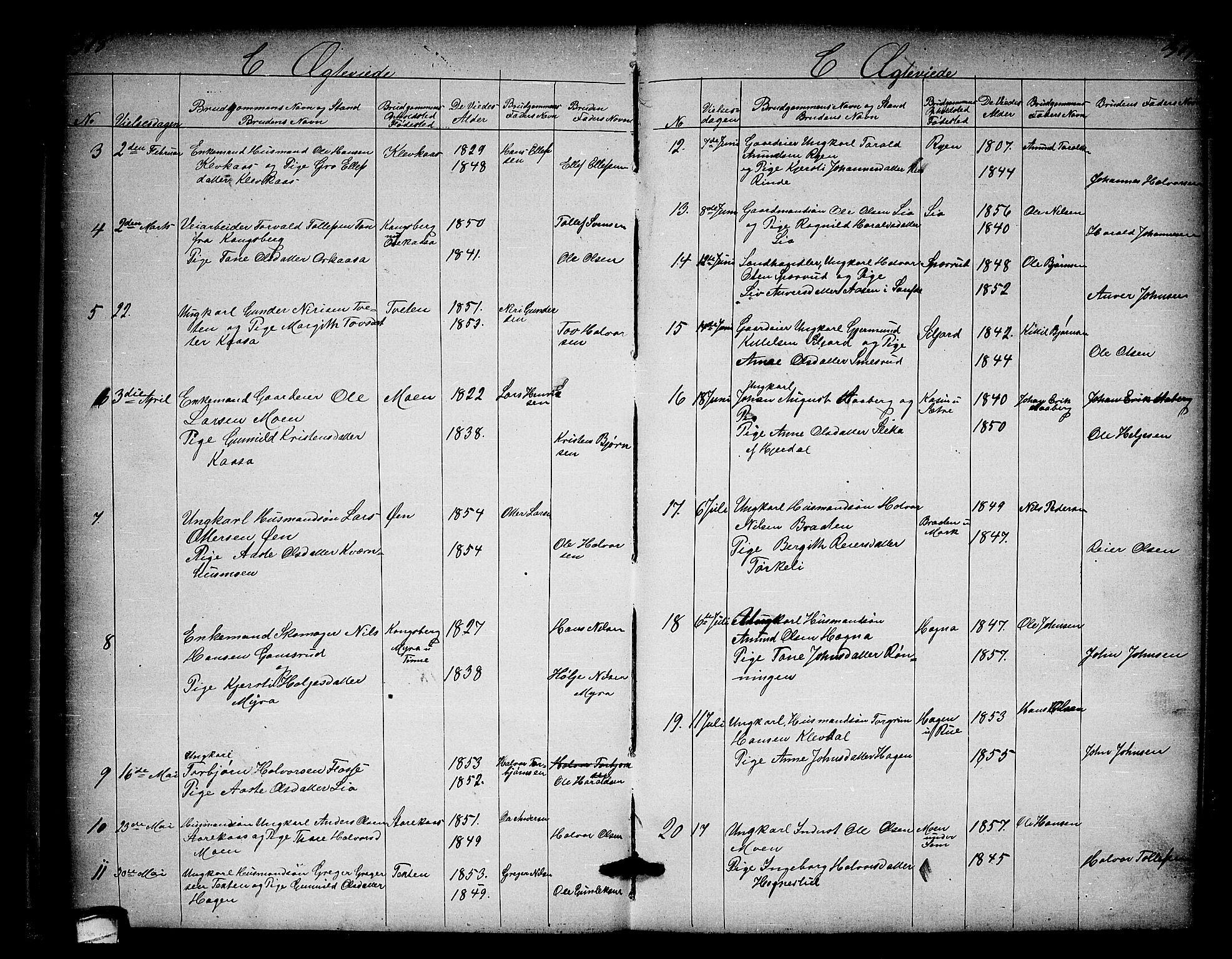 SAKO, Heddal kirkebøker, G/Ga/L0001: Klokkerbok nr. I 1, 1866-1878, s. 318-319
