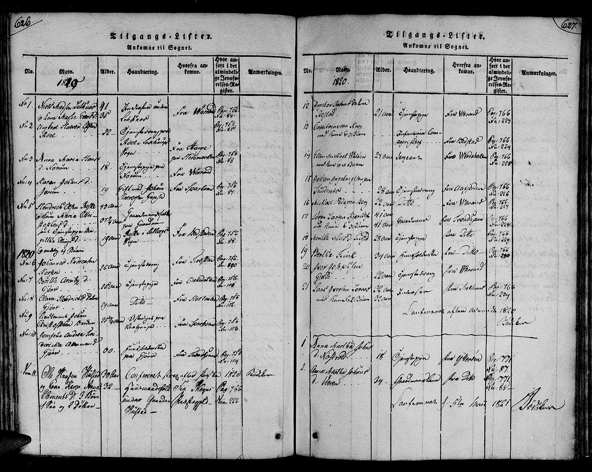 SAT, Ministerialprotokoller, klokkerbøker og fødselsregistre - Nord-Trøndelag, 730/L0275: Ministerialbok nr. 730A04, 1816-1822, s. 626-627
