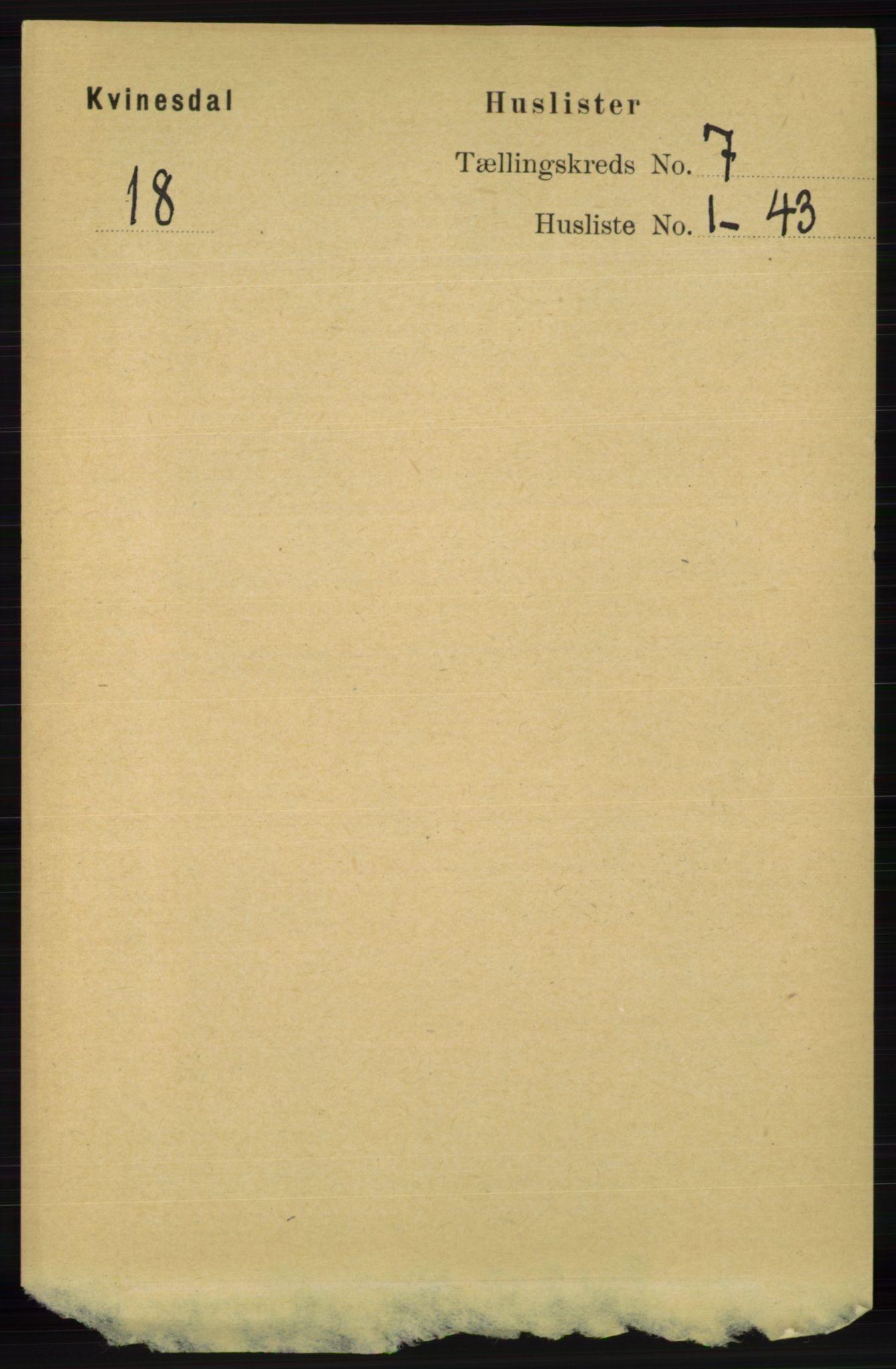 RA, Folketelling 1891 for 1037 Kvinesdal herred, 1891, s. 2375