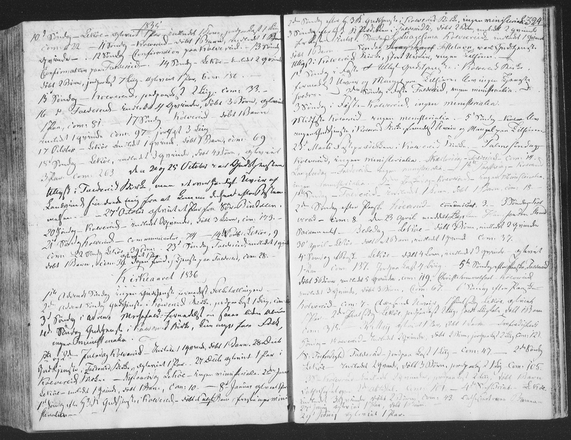 SAT, Ministerialprotokoller, klokkerbøker og fødselsregistre - Nord-Trøndelag, 780/L0639: Ministerialbok nr. 780A04, 1830-1844, s. 324