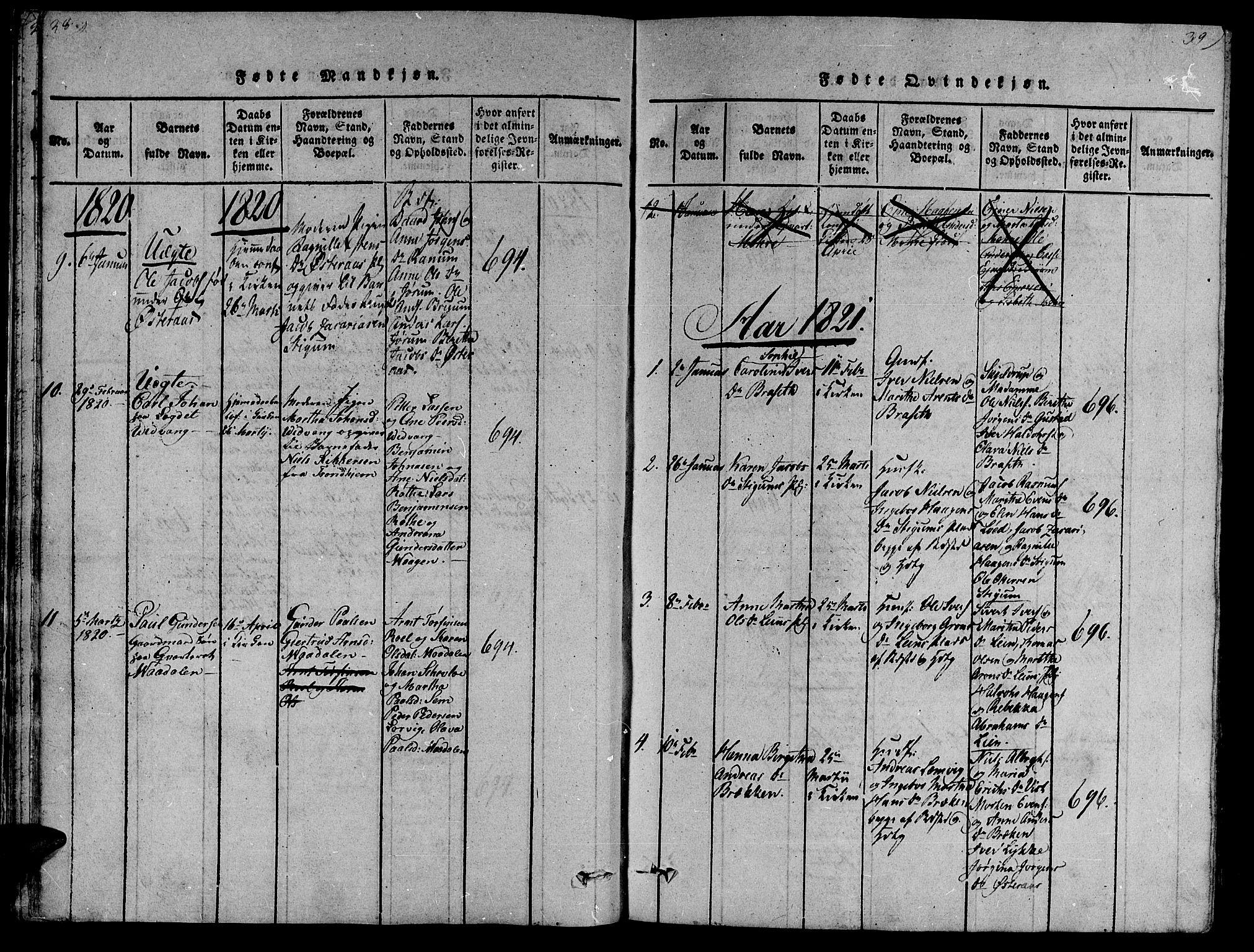 SAT, Ministerialprotokoller, klokkerbøker og fødselsregistre - Nord-Trøndelag, 735/L0333: Ministerialbok nr. 735A04 /1, 1816-1824, s. 38-39