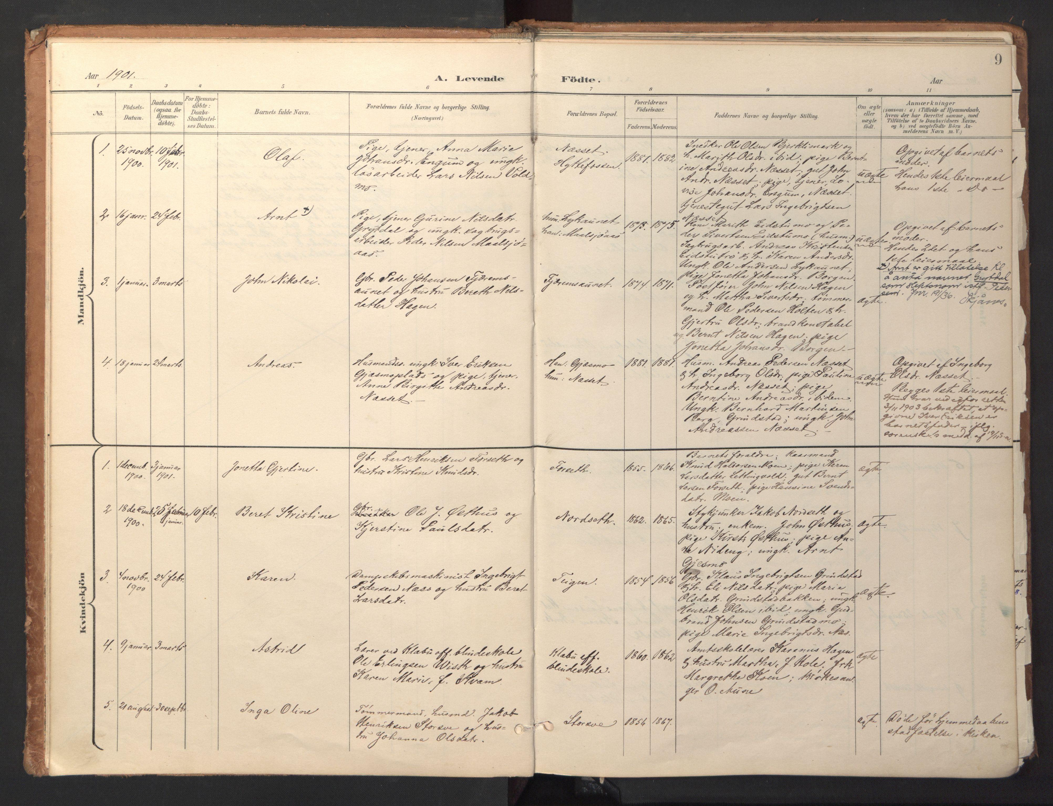 SAT, Ministerialprotokoller, klokkerbøker og fødselsregistre - Sør-Trøndelag, 618/L0448: Ministerialbok nr. 618A11, 1898-1916, s. 9