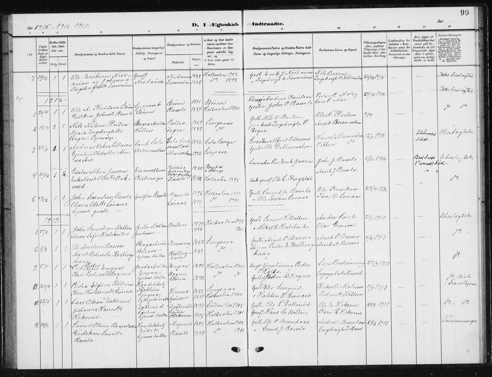 SAT, Ministerialprotokoller, klokkerbøker og fødselsregistre - Sør-Trøndelag, 685/L0979: Klokkerbok nr. 685C04, 1908-1933, s. 99