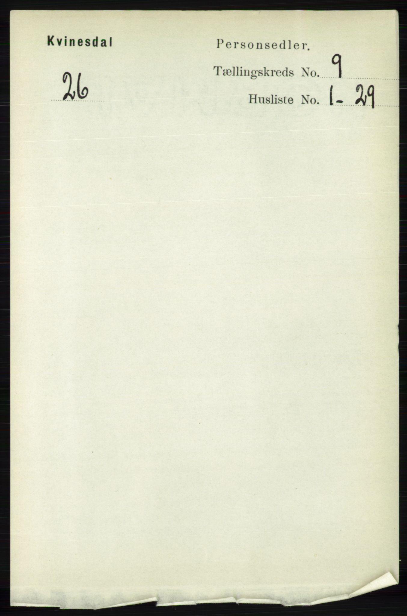 RA, Folketelling 1891 for 1037 Kvinesdal herred, 1891, s. 3292