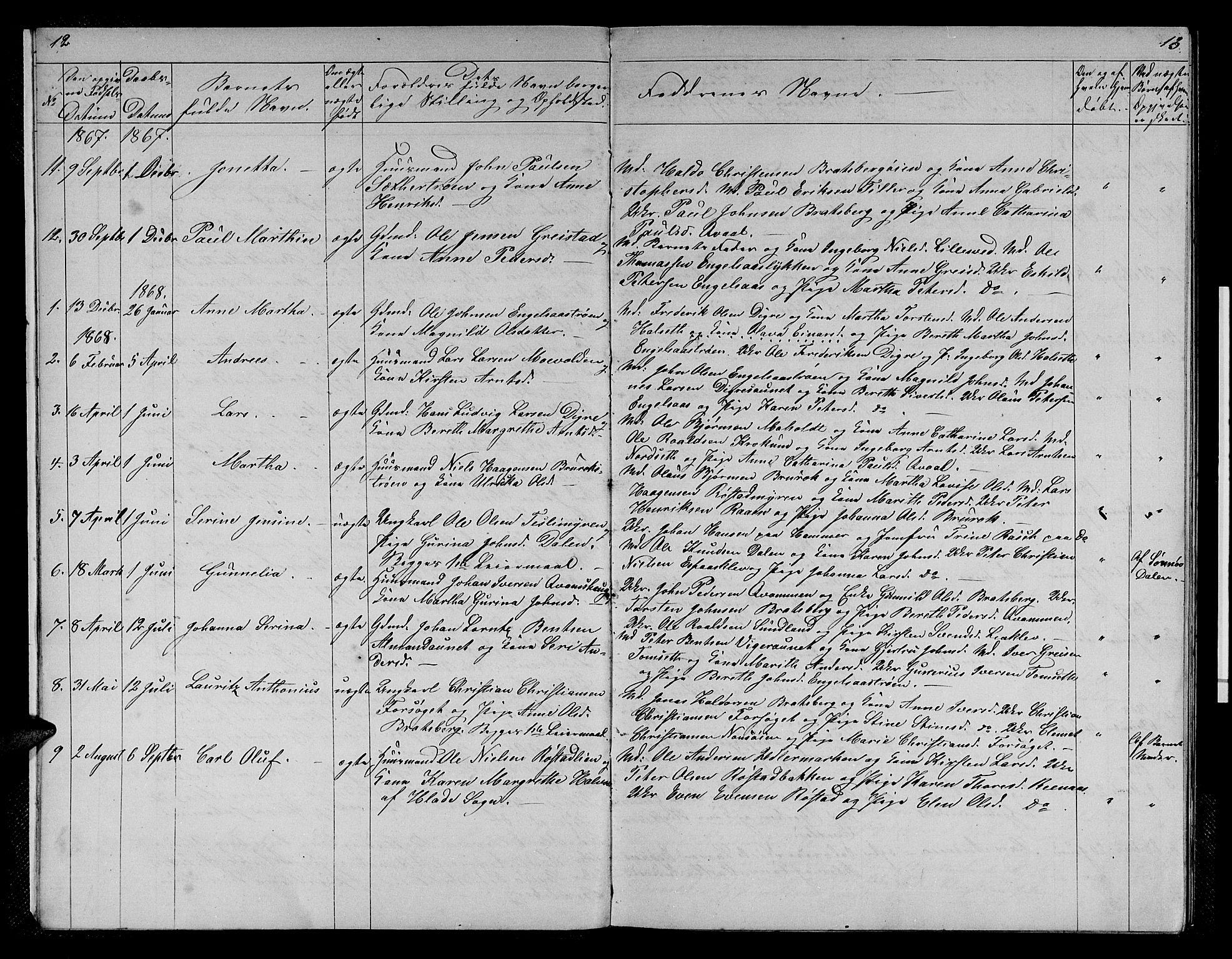 SAT, Ministerialprotokoller, klokkerbøker og fødselsregistre - Sør-Trøndelag, 608/L0340: Klokkerbok nr. 608C06, 1864-1889, s. 12-13