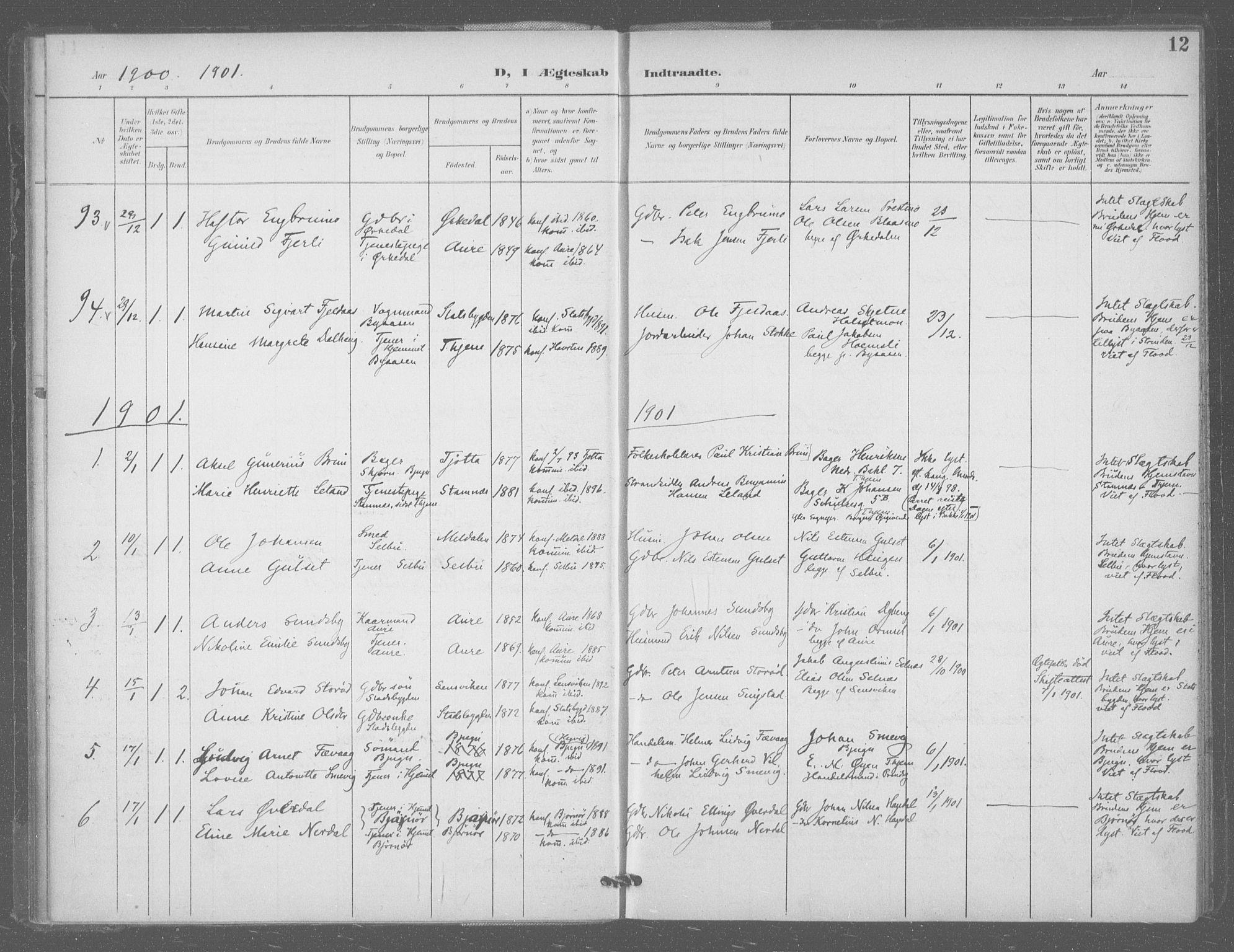 SAT, Ministerialprotokoller, klokkerbøker og fødselsregistre - Sør-Trøndelag, 601/L0077: Residerende kapellans bok nr. 601B10, 1900-1907, s. 12