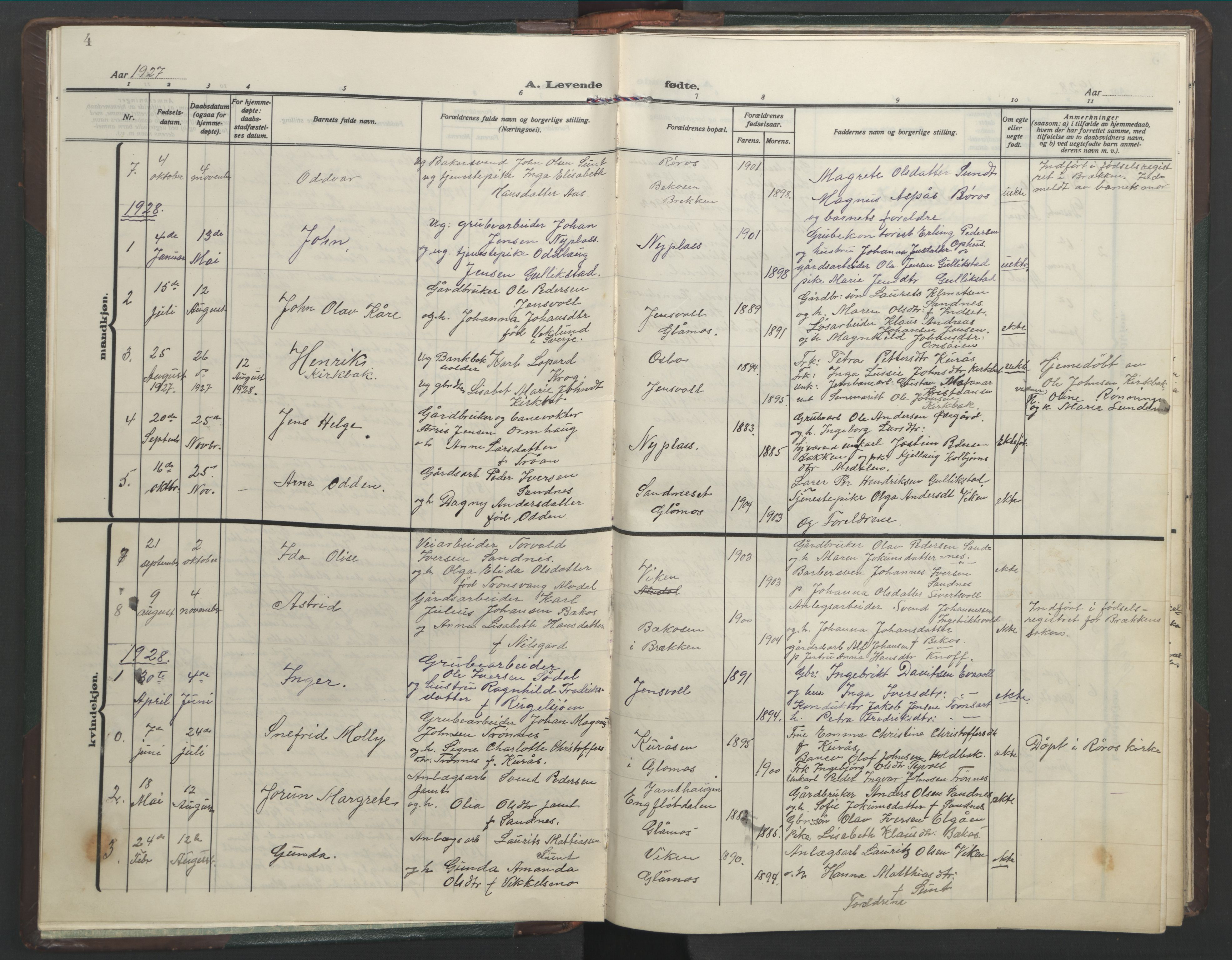 SAT, Ministerialprotokoller, klokkerbøker og fødselsregistre - Sør-Trøndelag, 682/L0947: Klokkerbok nr. 682C01, 1926-1968, s. 4