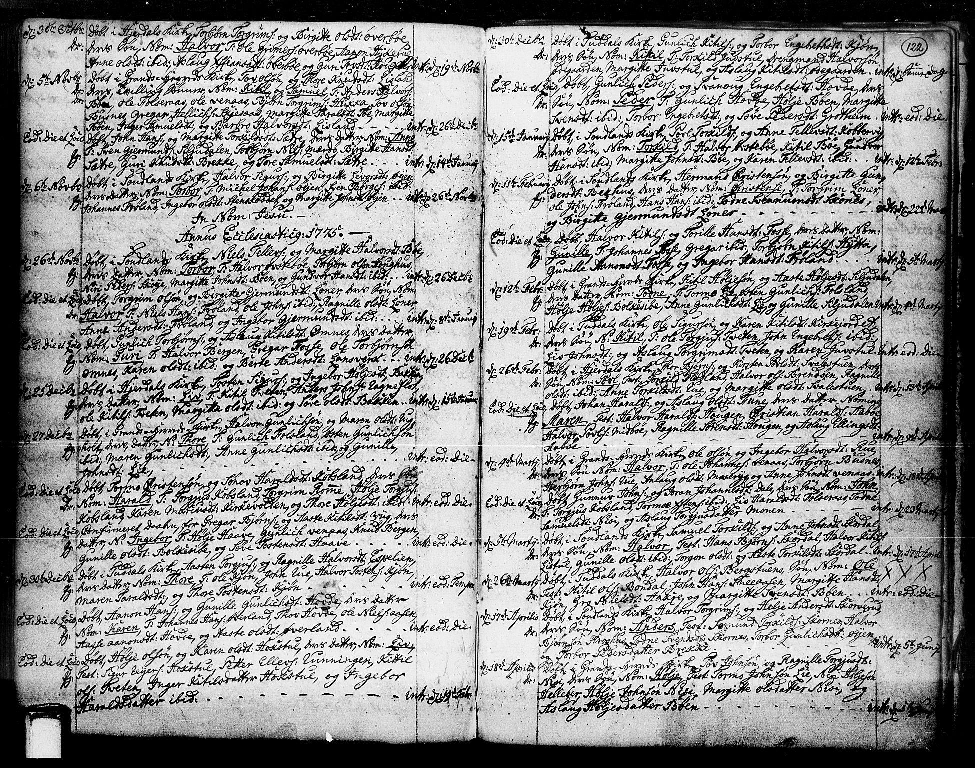 SAKO, Hjartdal kirkebøker, F/Fa/L0003: Ministerialbok nr. I 3, 1727-1775, s. 122