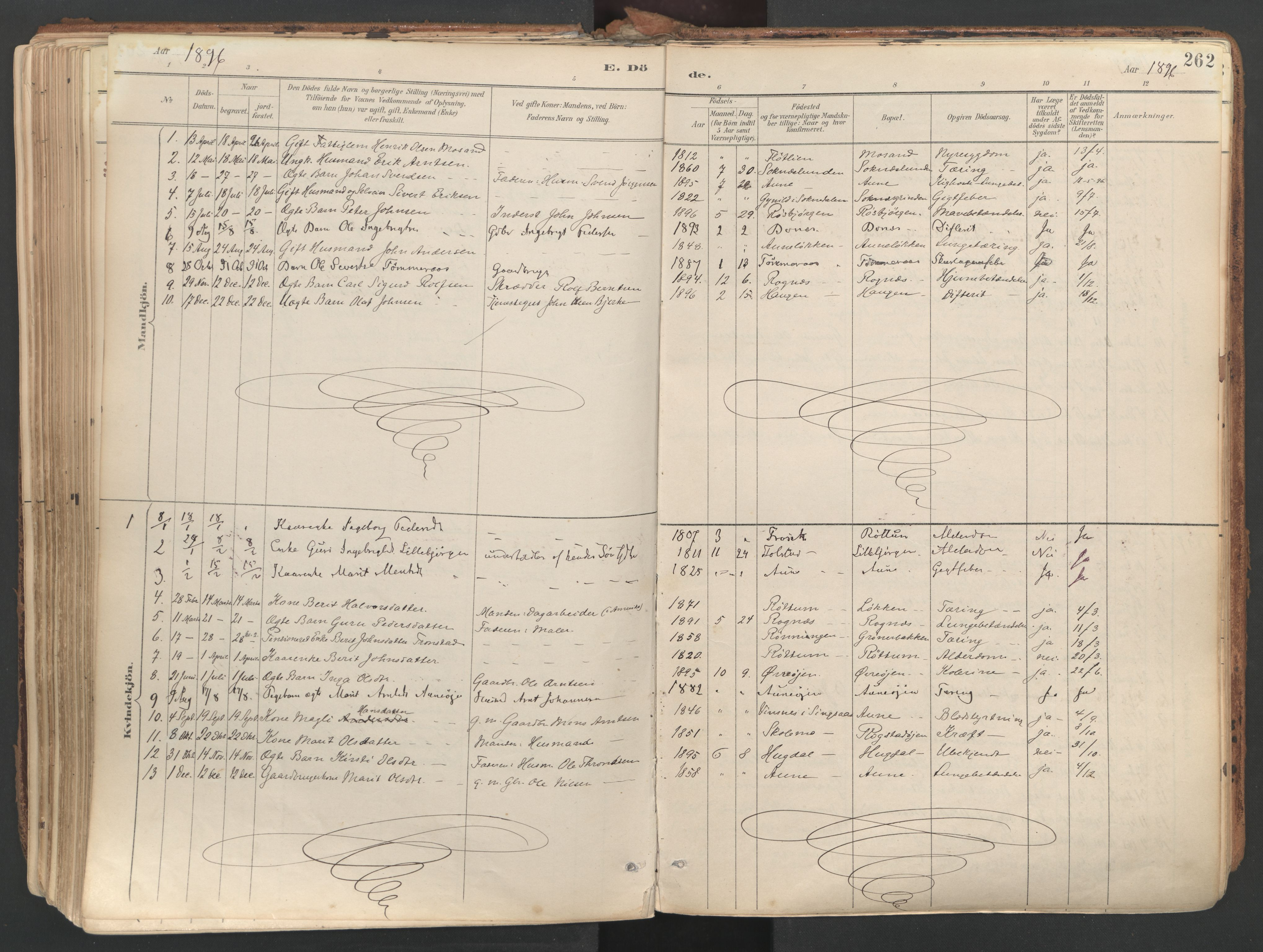SAT, Ministerialprotokoller, klokkerbøker og fødselsregistre - Sør-Trøndelag, 687/L1004: Ministerialbok nr. 687A10, 1891-1923, s. 262