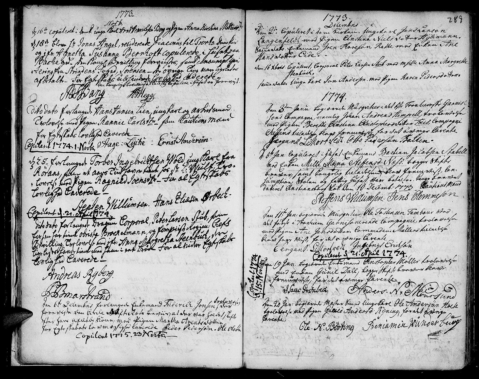 SAT, Ministerialprotokoller, klokkerbøker og fødselsregistre - Sør-Trøndelag, 601/L0038: Ministerialbok nr. 601A06, 1766-1877, s. 289