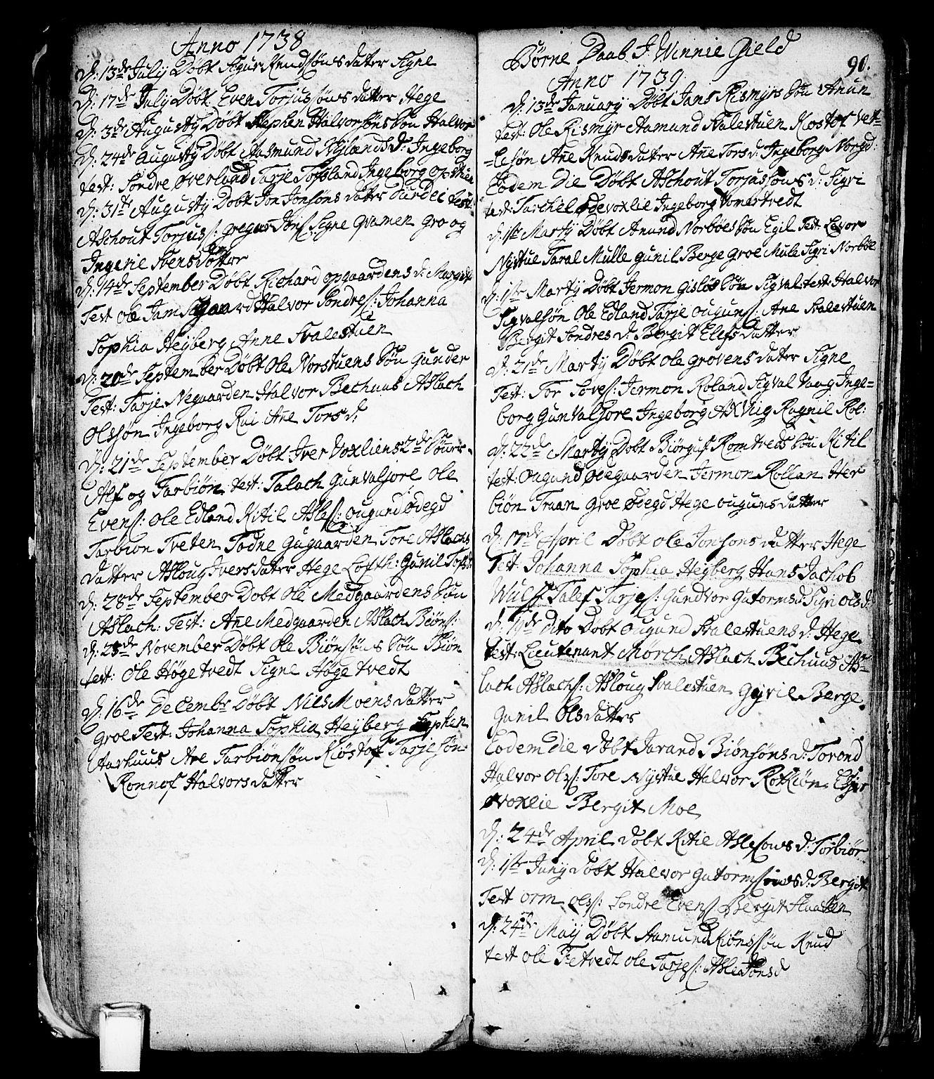 SAKO, Vinje kirkebøker, F/Fa/L0001: Ministerialbok nr. I 1, 1717-1766, s. 90
