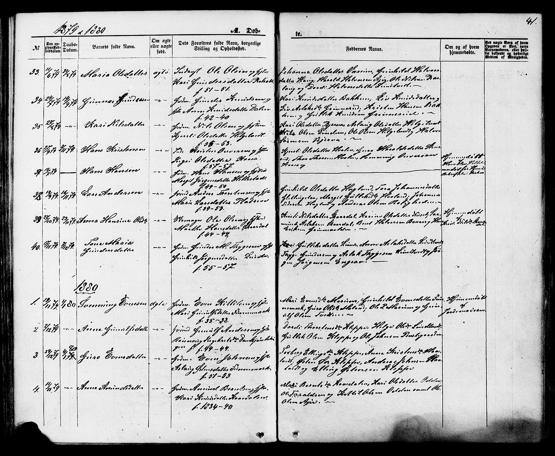 SAKO, Lunde kirkebøker, F/Fa/L0001: Ministerialbok nr. I 1, 1866-1883, s. 41