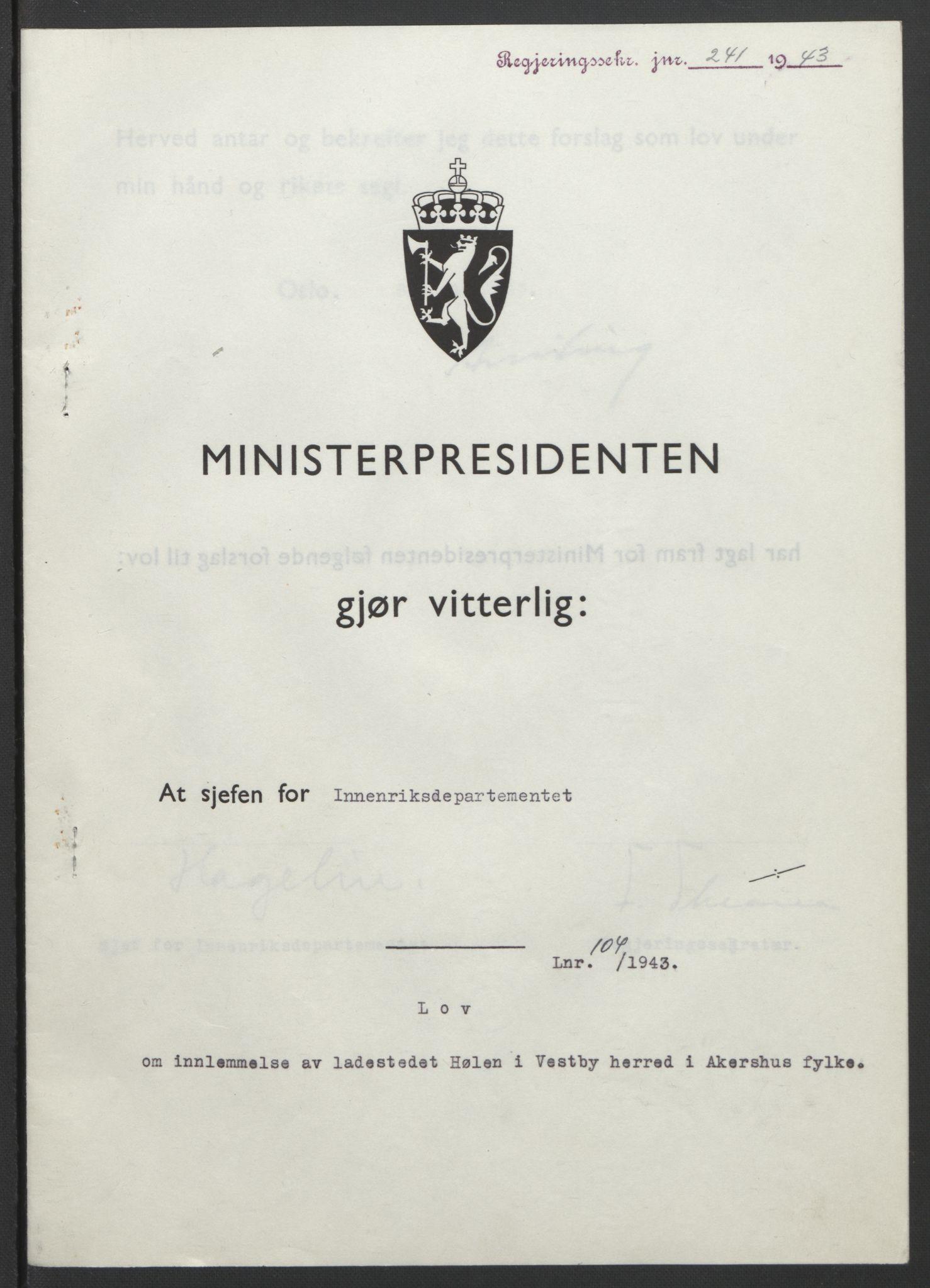 RA, NS-administrasjonen 1940-1945 (Statsrådsekretariatet, de kommisariske statsråder mm), D/Db/L0099: Lover, 1943, s. 482