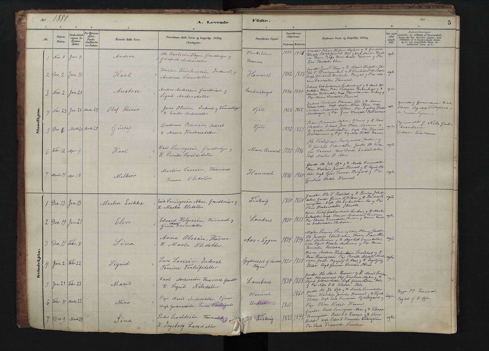 SAH, Rendalen prestekontor, H/Ha/Hab/L0009: Klokkerbok nr. 9, 1879-1902, s. 5