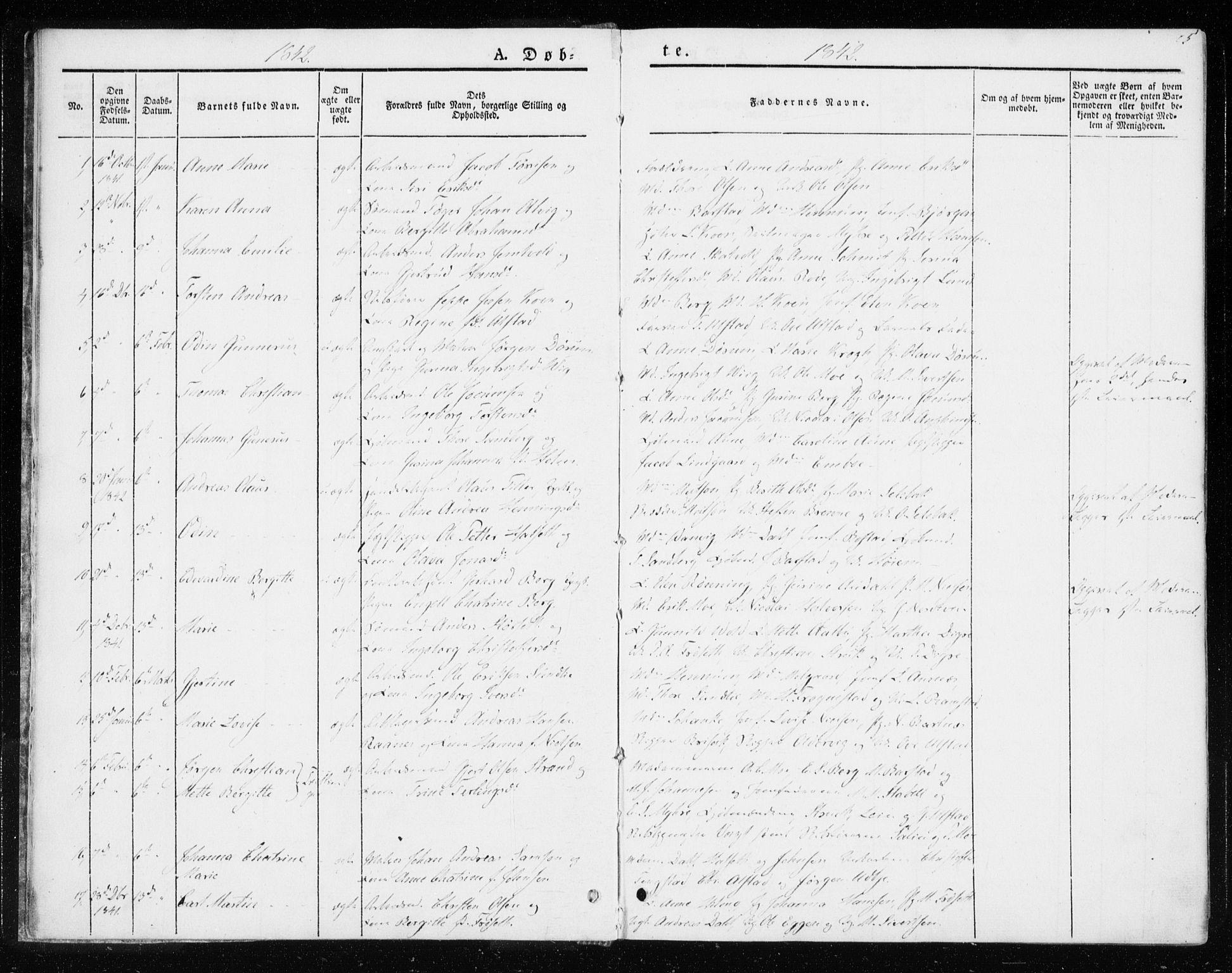 SAT, Ministerialprotokoller, klokkerbøker og fødselsregistre - Sør-Trøndelag, 604/L0183: Ministerialbok nr. 604A04, 1841-1850, s. 5