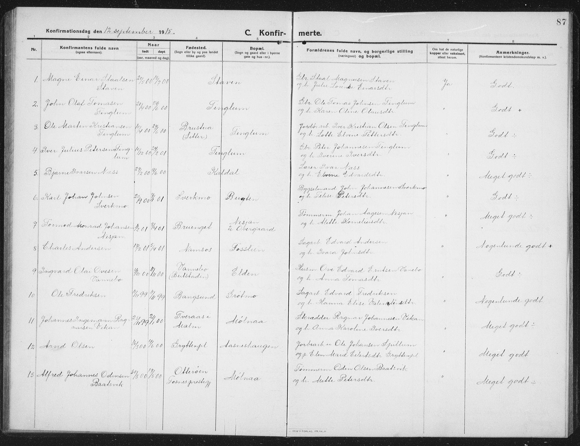 SAT, Ministerialprotokoller, klokkerbøker og fødselsregistre - Nord-Trøndelag, 742/L0413: Klokkerbok nr. 742C04, 1911-1938, s. 87