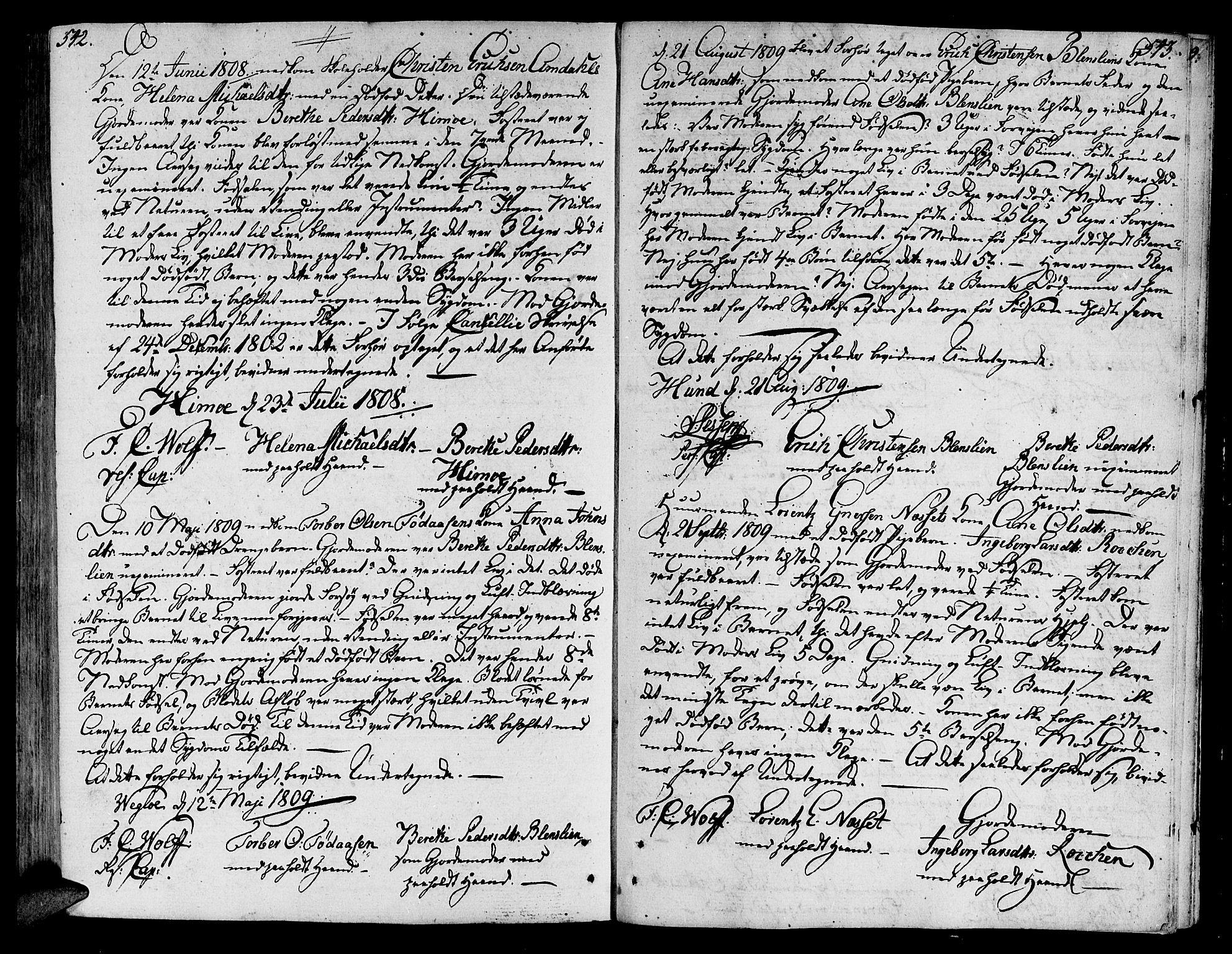 SAT, Ministerialprotokoller, klokkerbøker og fødselsregistre - Nord-Trøndelag, 764/L0545: Ministerialbok nr. 764A05, 1799-1816, s. 542-543