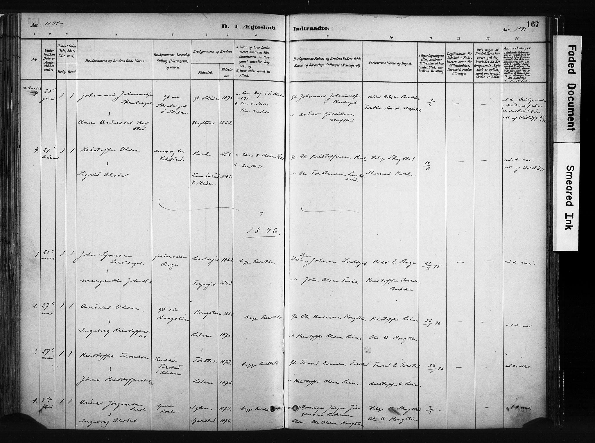 SAH, Vang prestekontor, Valdres, Ministerialbok nr. 8, 1882-1910, s. 167