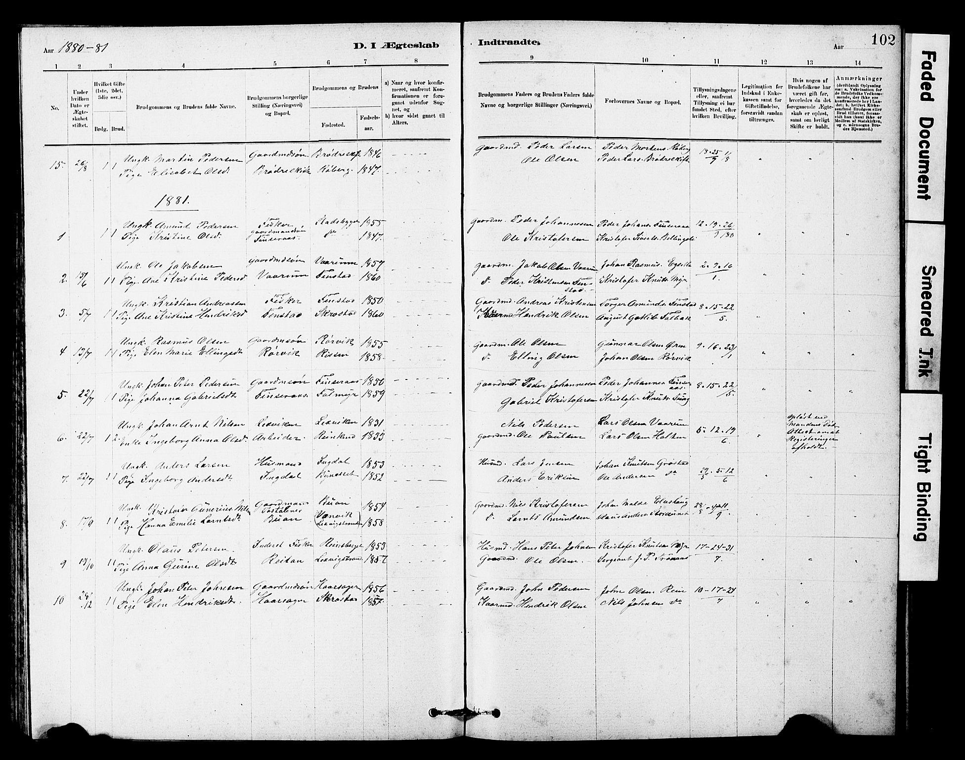 SAT, Ministerialprotokoller, klokkerbøker og fødselsregistre - Sør-Trøndelag, 646/L0628: Klokkerbok nr. 646C01, 1880-1903, s. 102