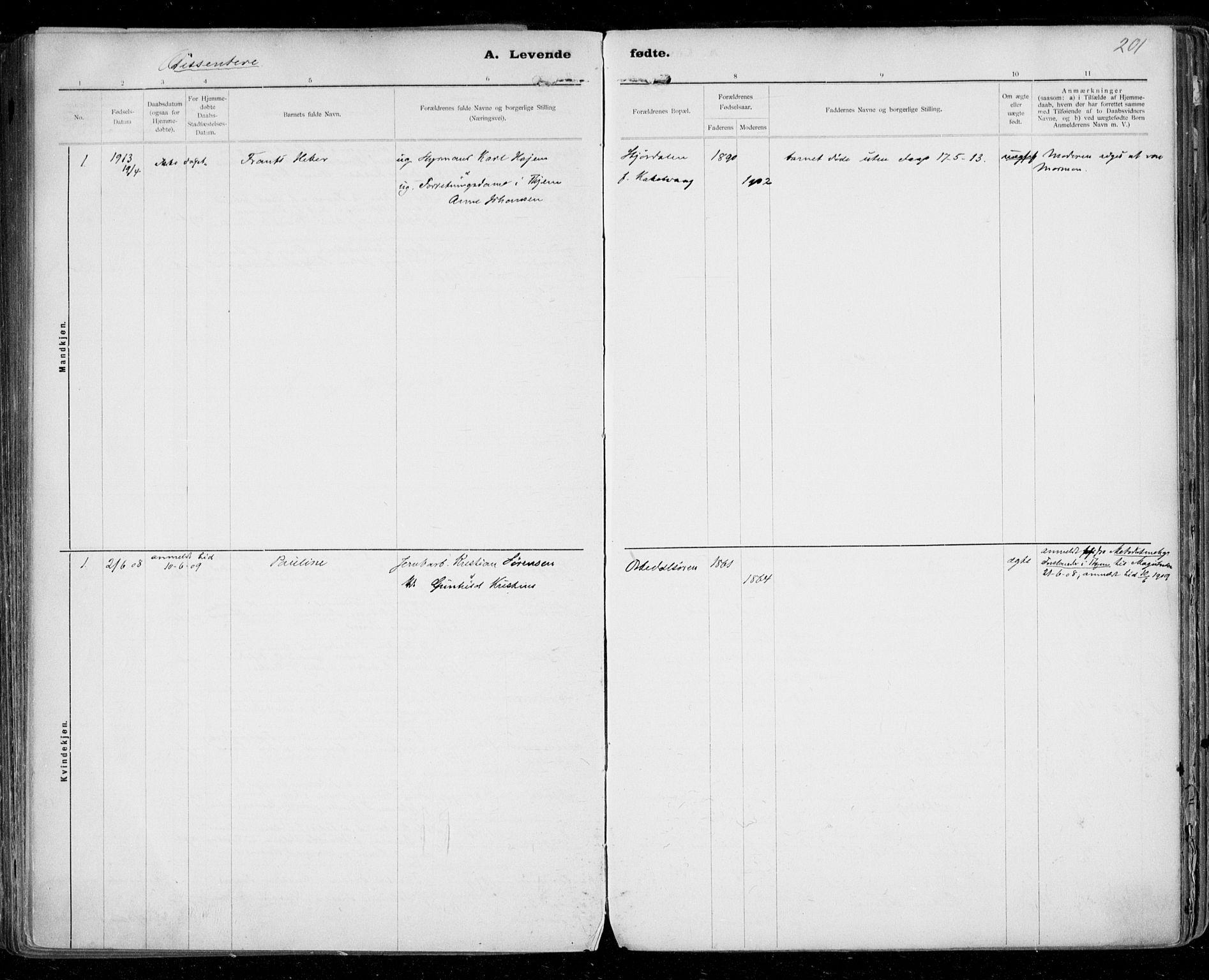 SAT, Ministerialprotokoller, klokkerbøker og fødselsregistre - Sør-Trøndelag, 668/L0811: Ministerialbok nr. 668A11, 1894-1913, s. 201