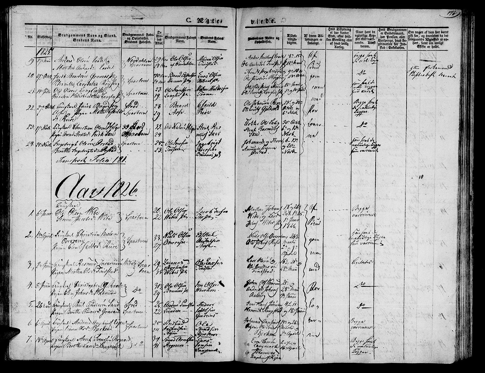 SAT, Ministerialprotokoller, klokkerbøker og fødselsregistre - Nord-Trøndelag, 735/L0336: Ministerialbok nr. 735A05 /1, 1825-1835, s. 176
