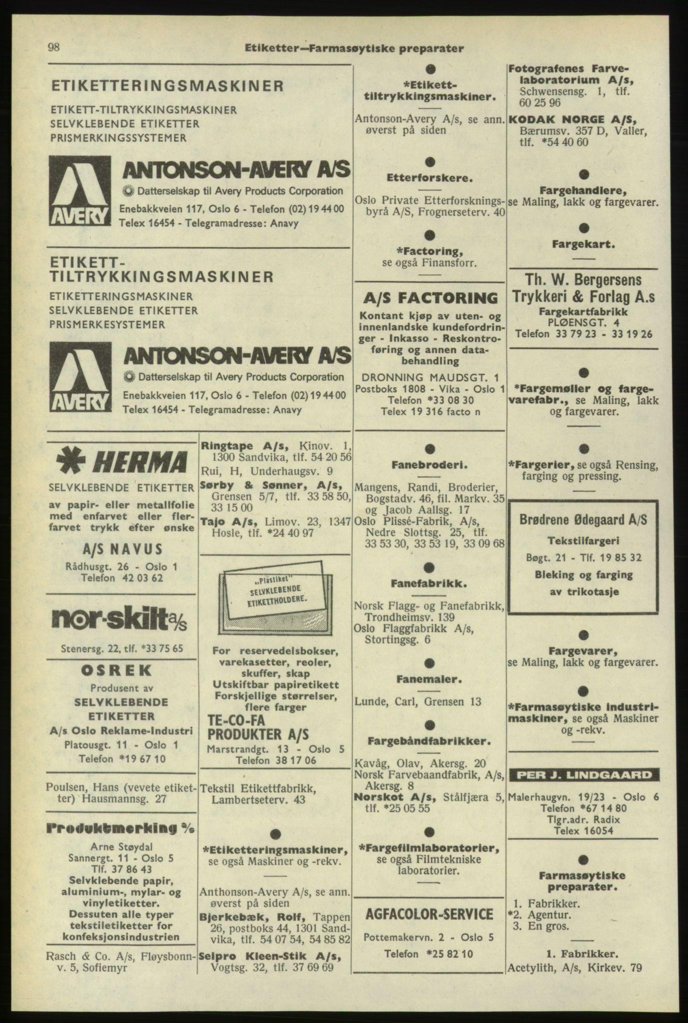 PUBL, Kristiania/Oslo adressebok, 1974-1975, s. 98
