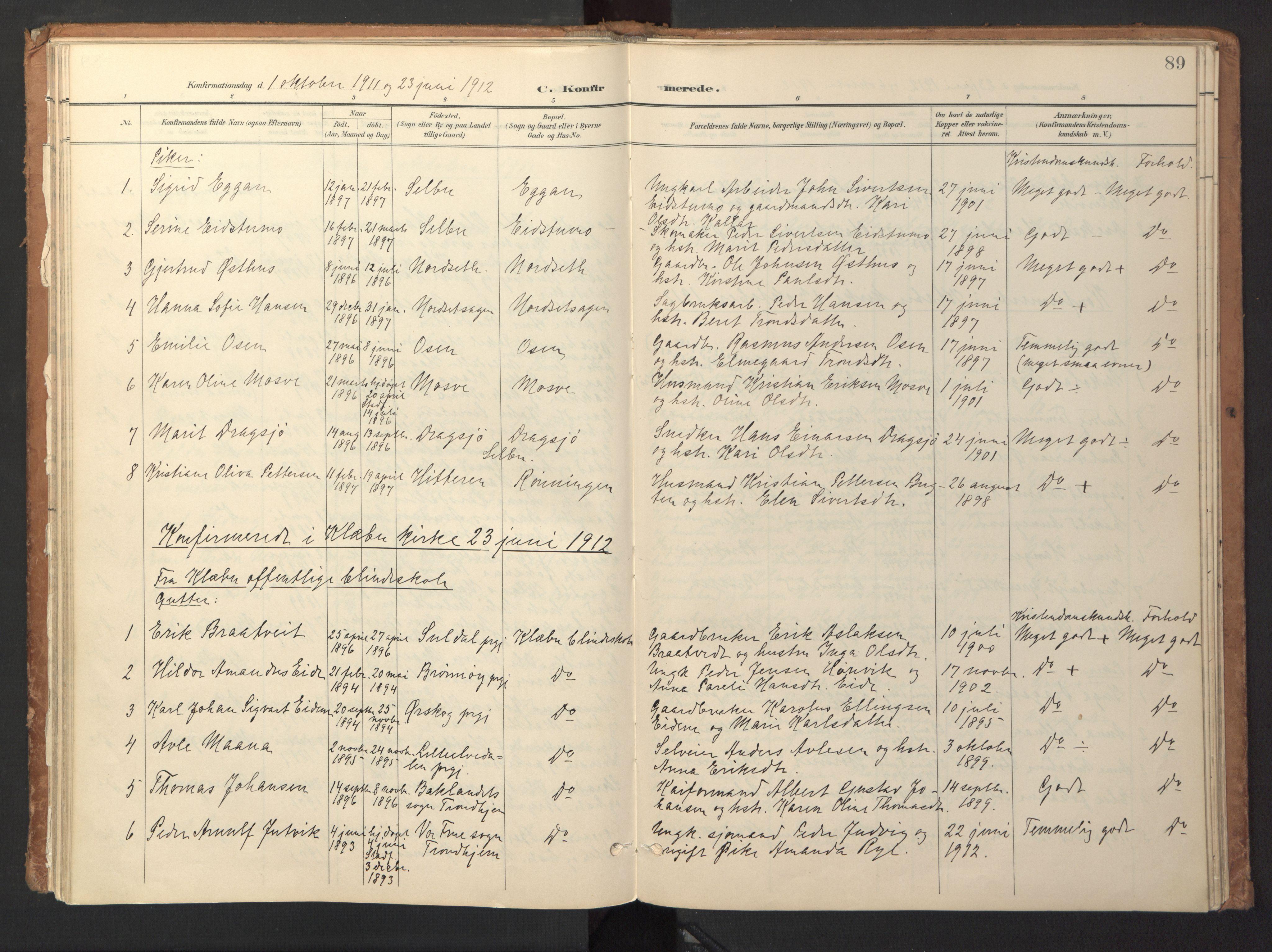 SAT, Ministerialprotokoller, klokkerbøker og fødselsregistre - Sør-Trøndelag, 618/L0448: Ministerialbok nr. 618A11, 1898-1916, s. 89