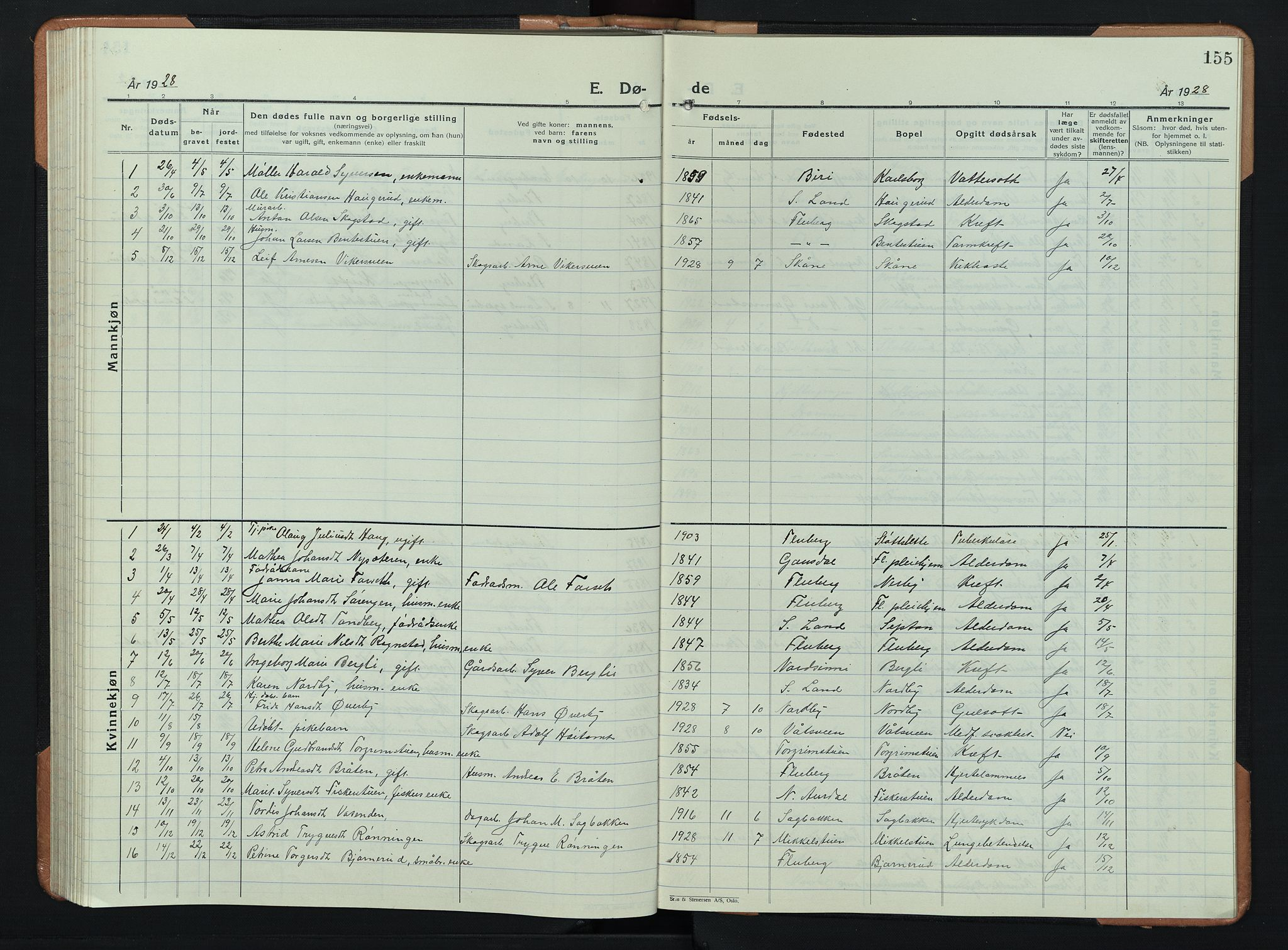 SAH, Søndre Land prestekontor, L/L0008: Klokkerbok nr. 8, 1926-1950, s. 155