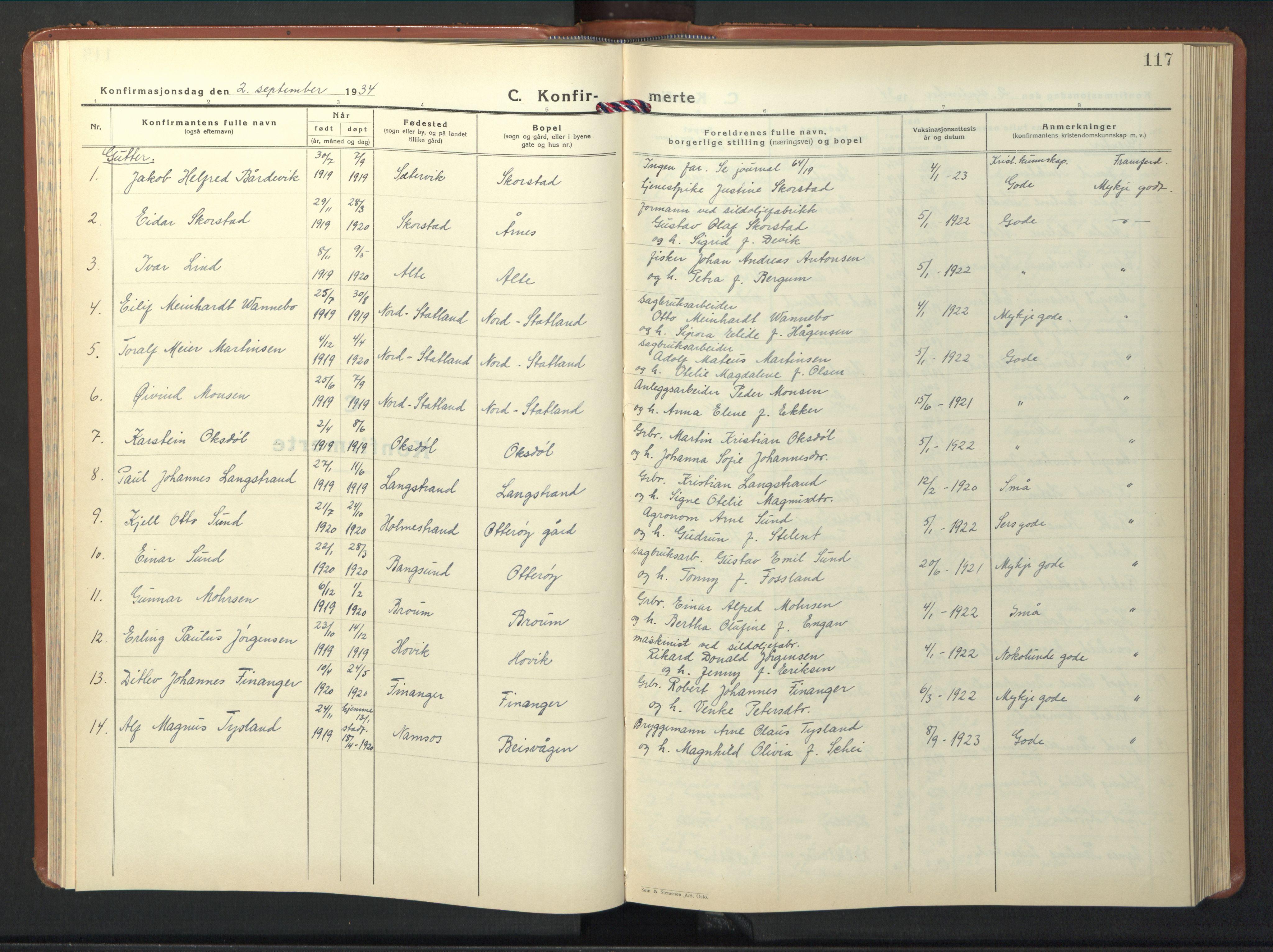 SAT, Ministerialprotokoller, klokkerbøker og fødselsregistre - Nord-Trøndelag, 774/L0631: Klokkerbok nr. 774C02, 1934-1950, s. 117