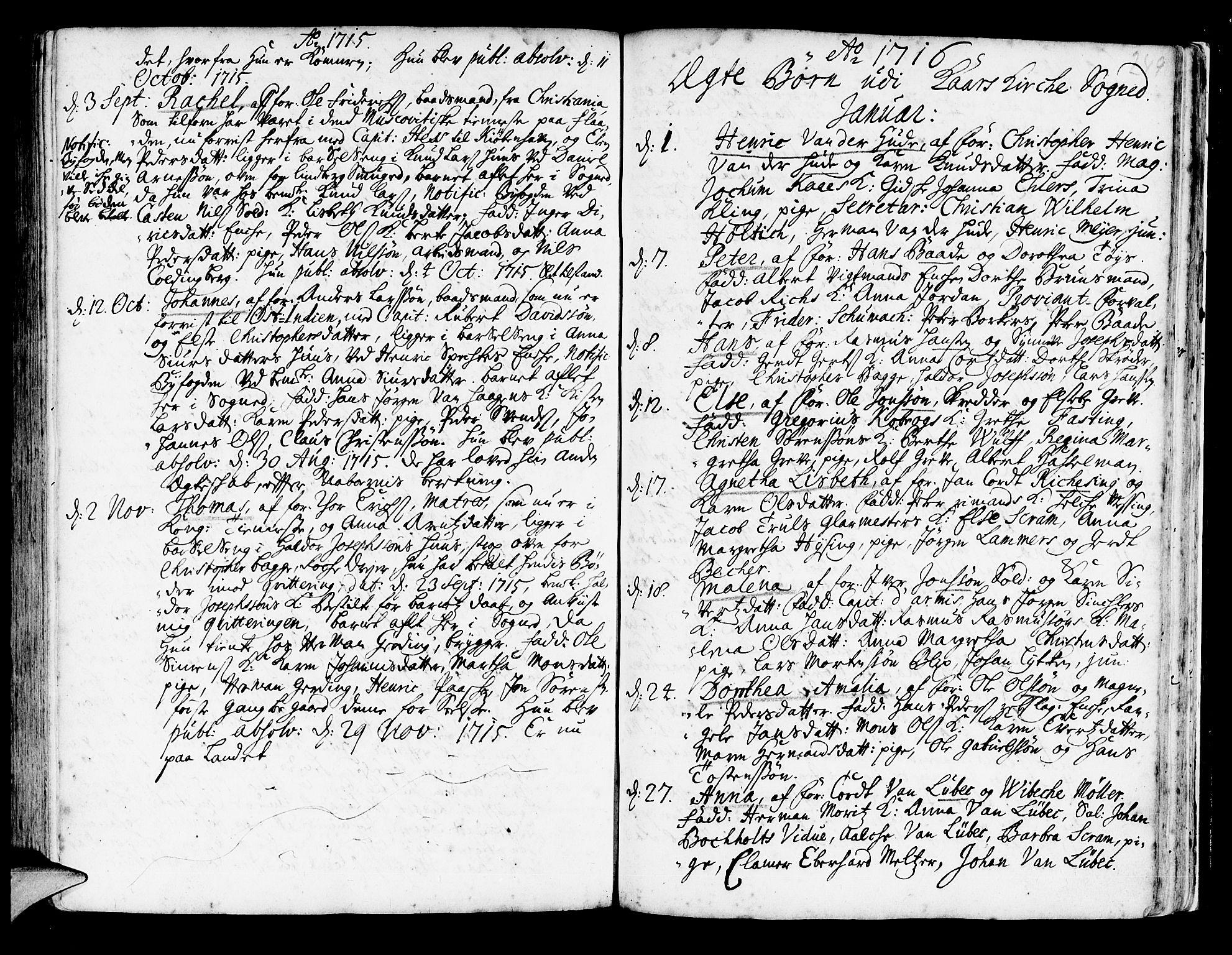 SAB, Korskirken Sokneprestembete, H/Haa/L0003: Ministerialbok nr. A 3, 1698-1719, s. 249