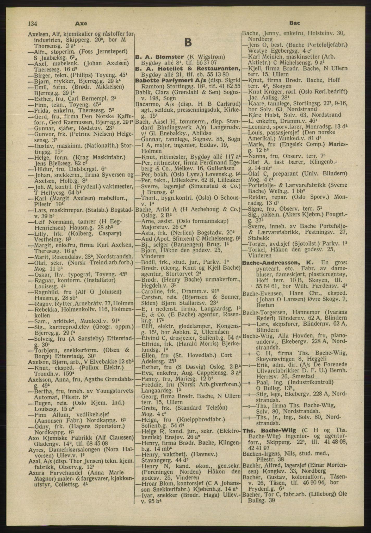 PUBL, Kristiania/Oslo adressebok, 1955, s. 134