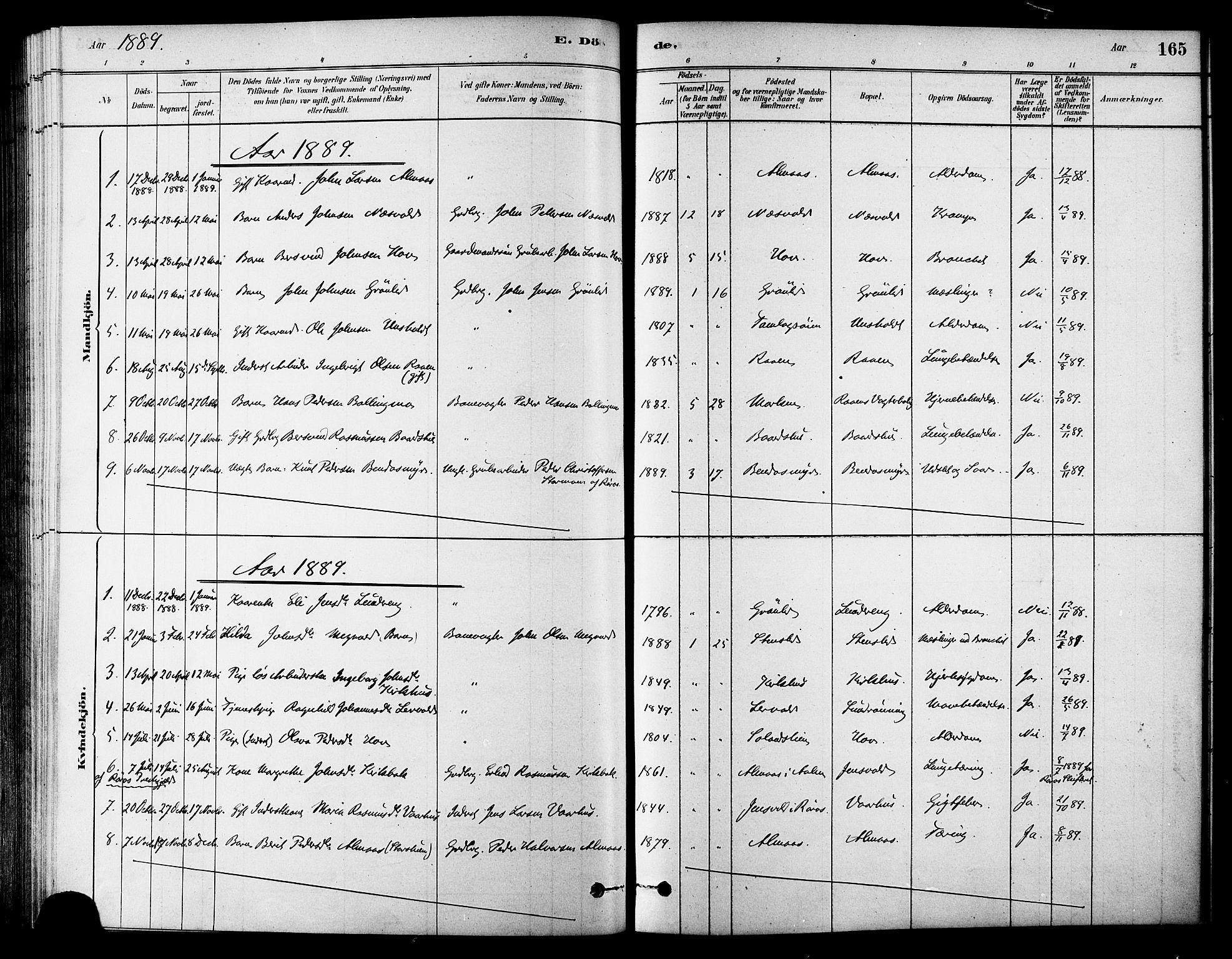 SAT, Ministerialprotokoller, klokkerbøker og fødselsregistre - Sør-Trøndelag, 686/L0983: Ministerialbok nr. 686A01, 1879-1890, s. 165