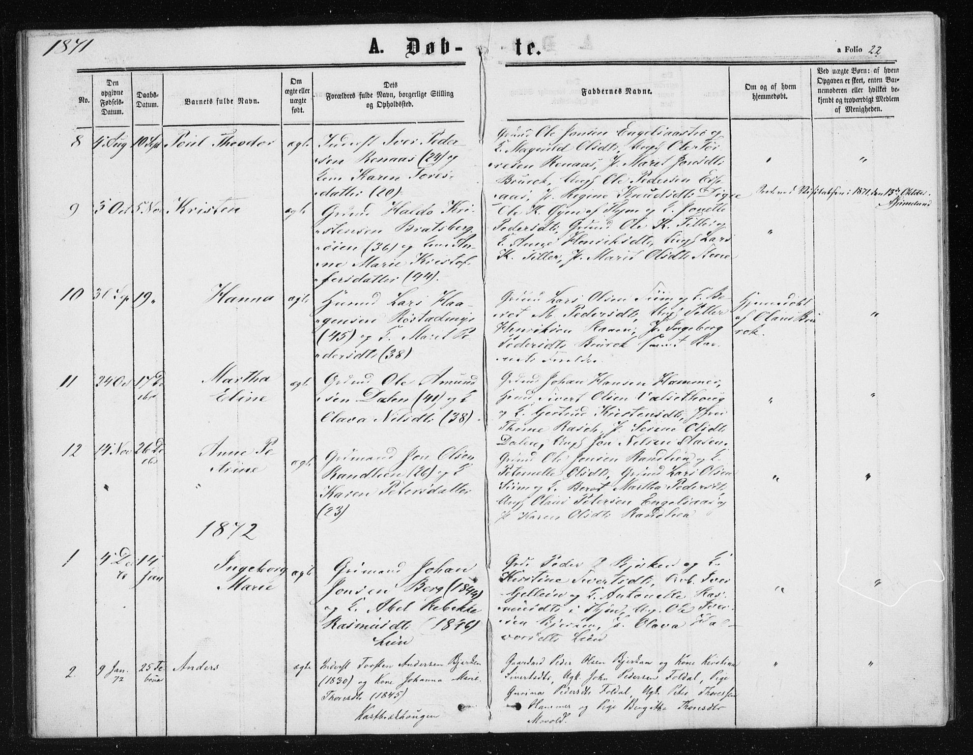 SAT, Ministerialprotokoller, klokkerbøker og fødselsregistre - Sør-Trøndelag, 608/L0333: Ministerialbok nr. 608A02, 1862-1876, s. 22
