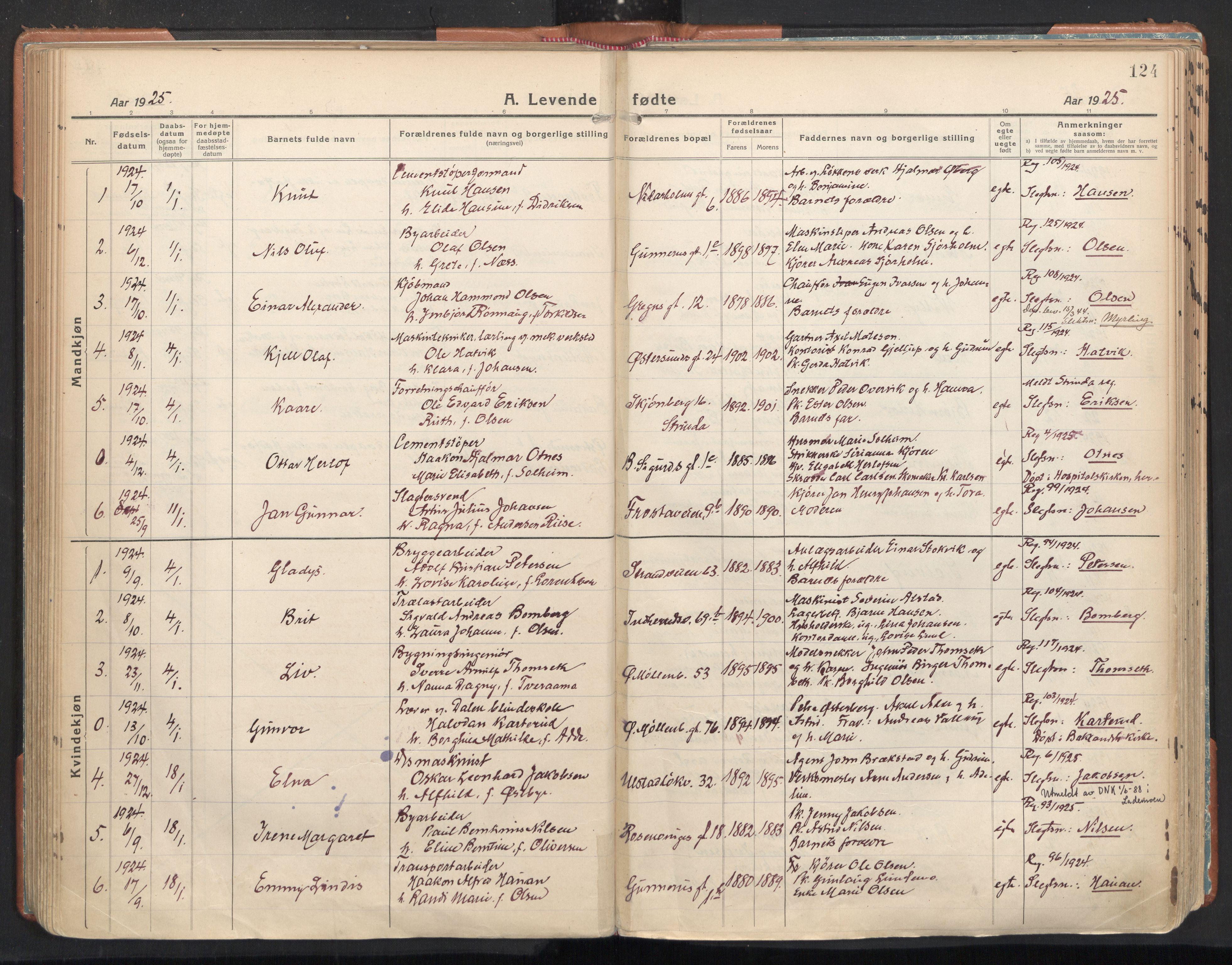 SAT, Ministerialprotokoller, klokkerbøker og fødselsregistre - Sør-Trøndelag, 605/L0248: Ministerialbok nr. 605A10, 1920-1937, s. 124