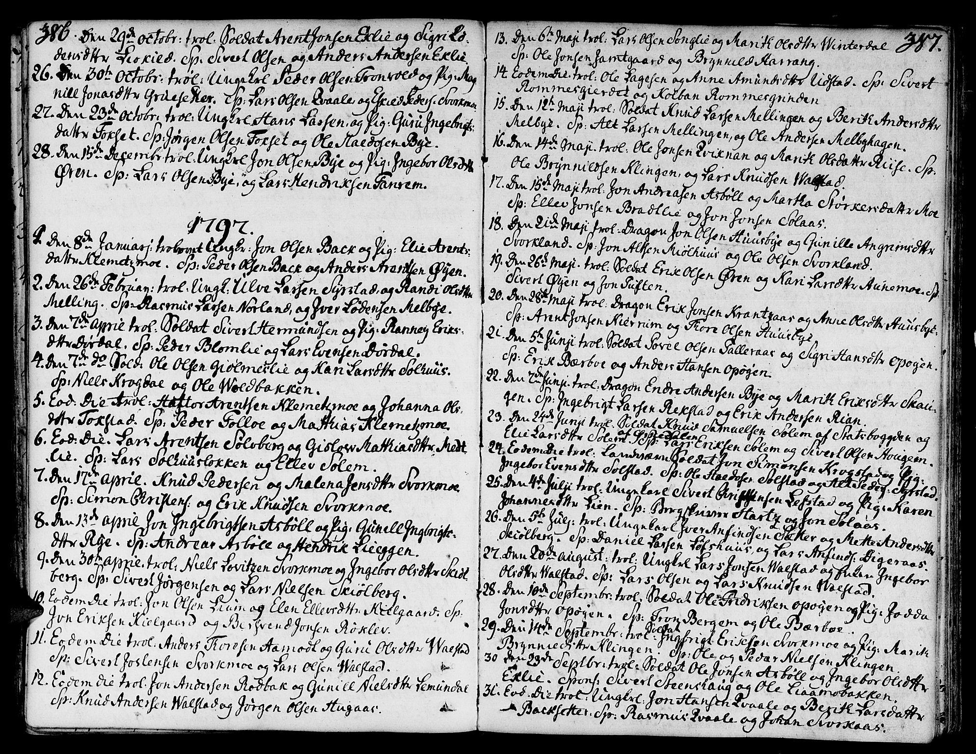 SAT, Ministerialprotokoller, klokkerbøker og fødselsregistre - Sør-Trøndelag, 668/L0802: Ministerialbok nr. 668A02, 1776-1799, s. 386-387
