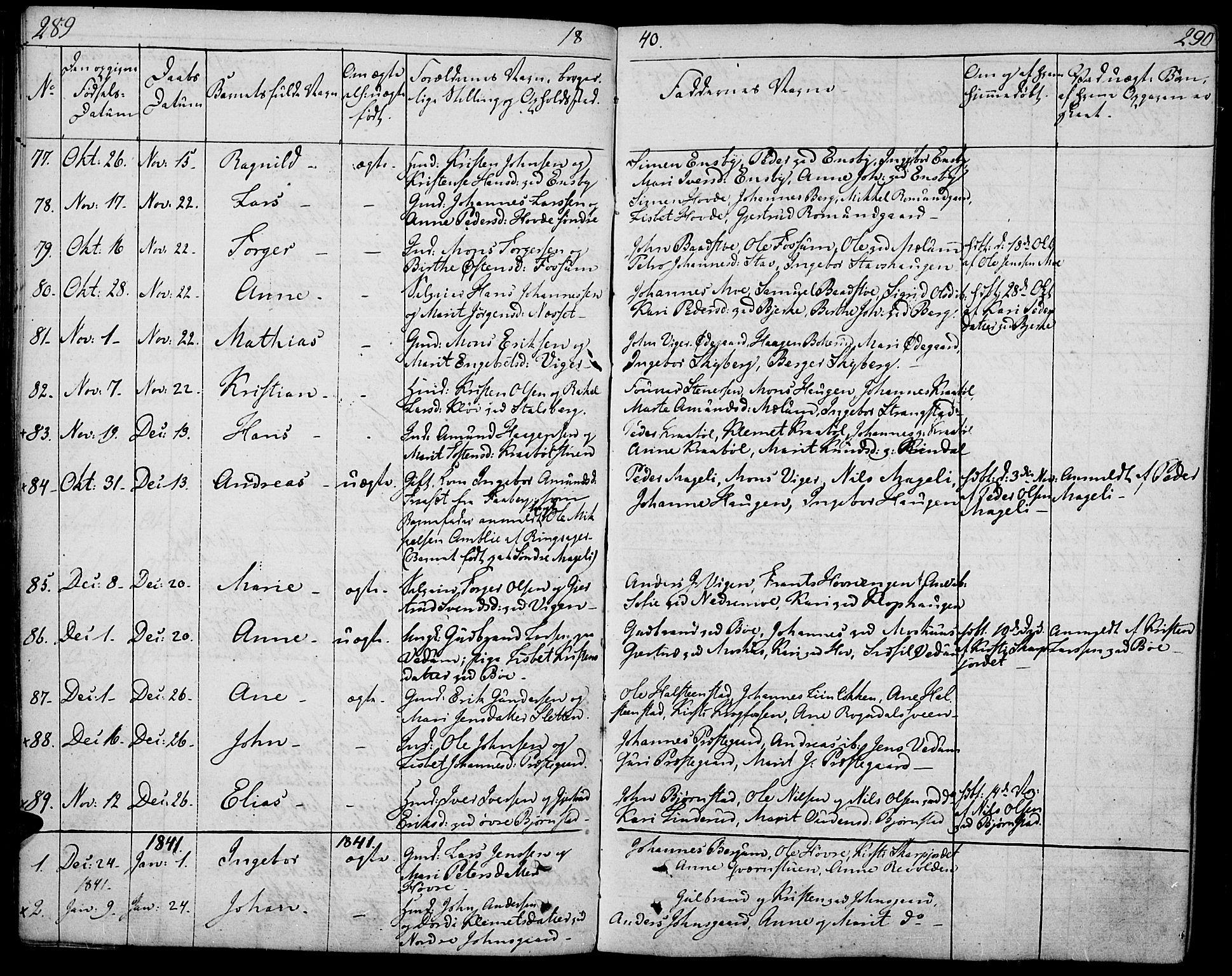 SAH, Øyer prestekontor, Ministerialbok nr. 4, 1824-1841, s. 289-290