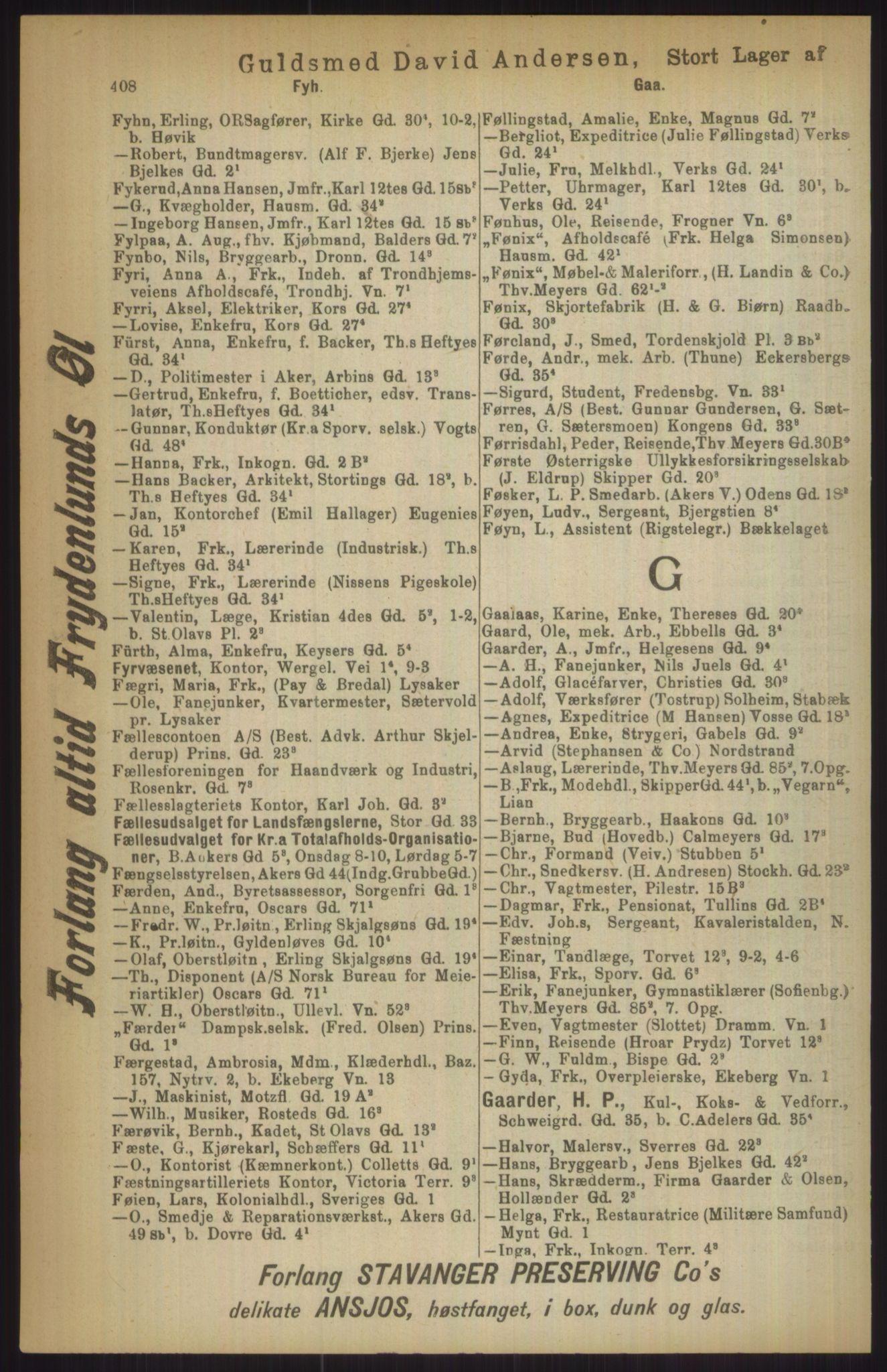 RA, Kristiania adressebok (publikasjon)*, 1911, s. 408