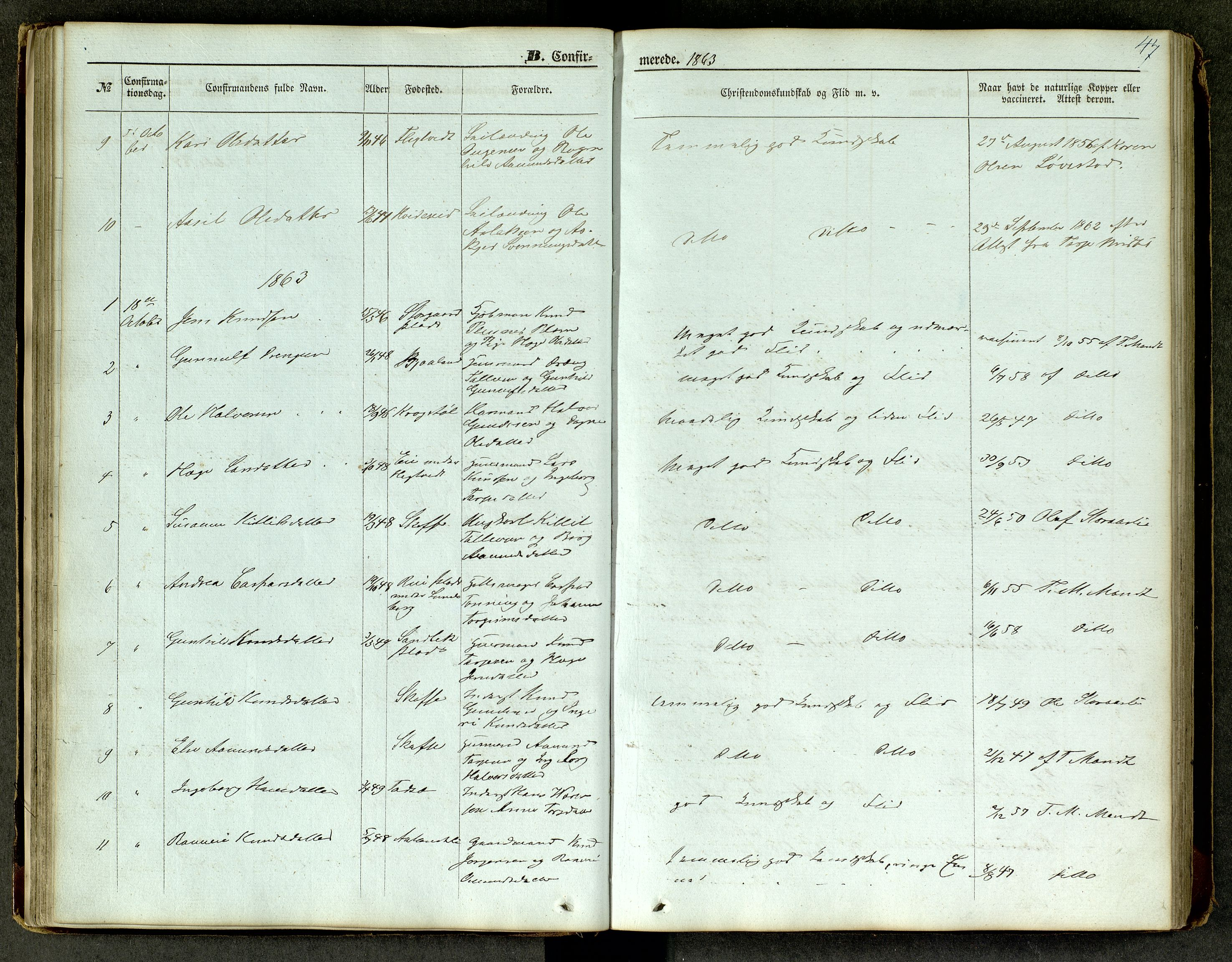SAKO, Lårdal kirkebøker, G/Ga/L0002: Klokkerbok nr. I 2, 1861-1890, s. 47