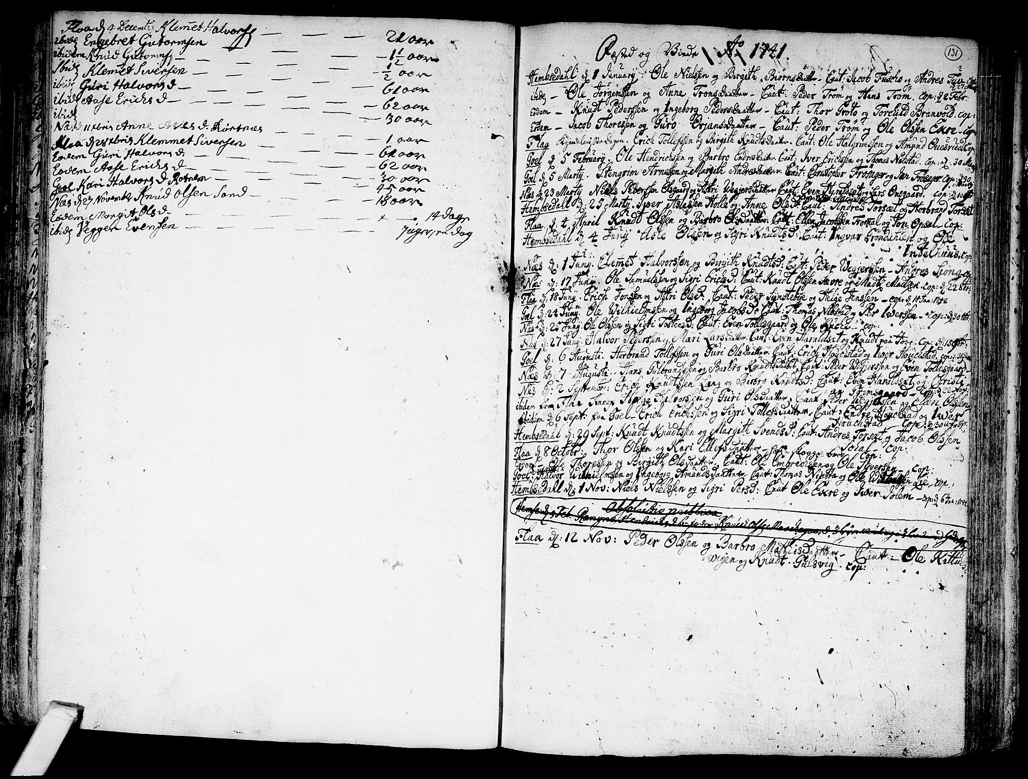 SAKO, Nes kirkebøker, F/Fa/L0002: Ministerialbok nr. 2, 1707-1759, s. 131
