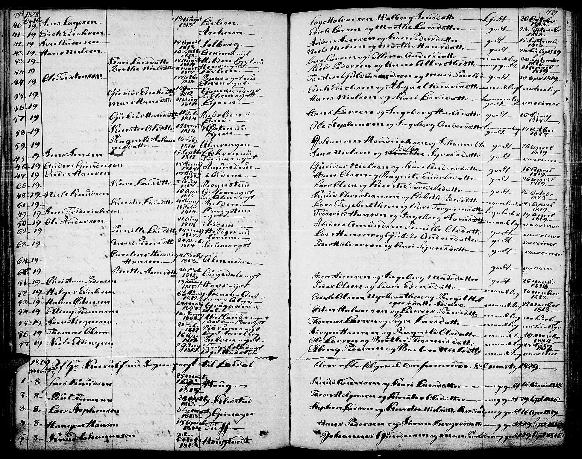 SAH, Gran prestekontor, Ministerialbok nr. 10, 1824-1842, s. 488-489