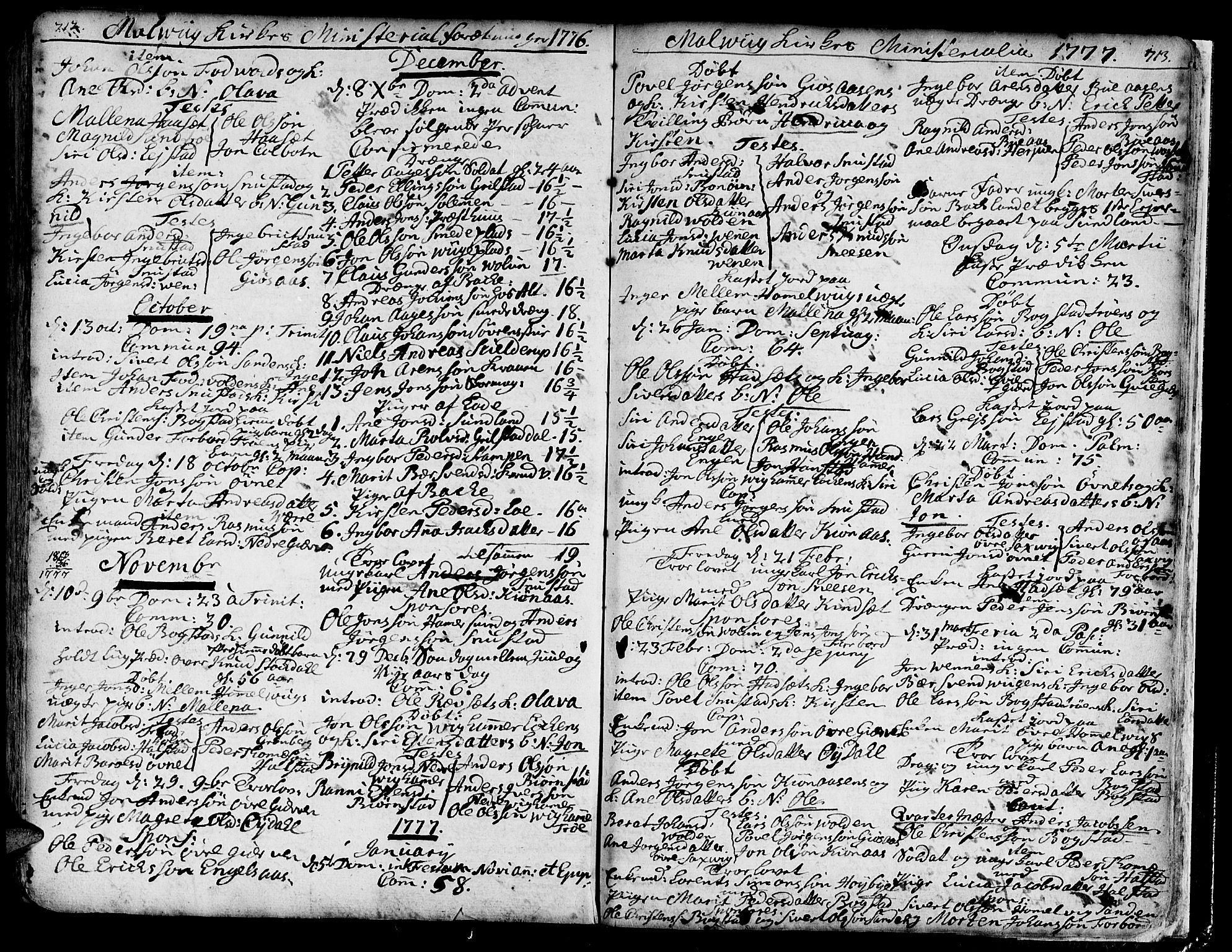 SAT, Ministerialprotokoller, klokkerbøker og fødselsregistre - Sør-Trøndelag, 606/L0277: Ministerialbok nr. 606A01 /3, 1727-1780, s. 712-713