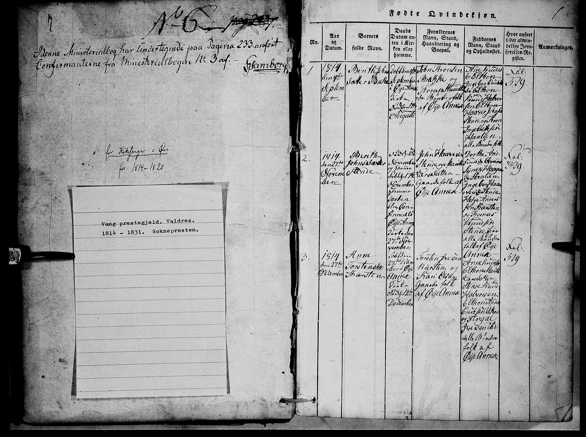 SAH, Vang prestekontor, Valdres, Klokkerbok nr. 1, 1814-1820, s. 1