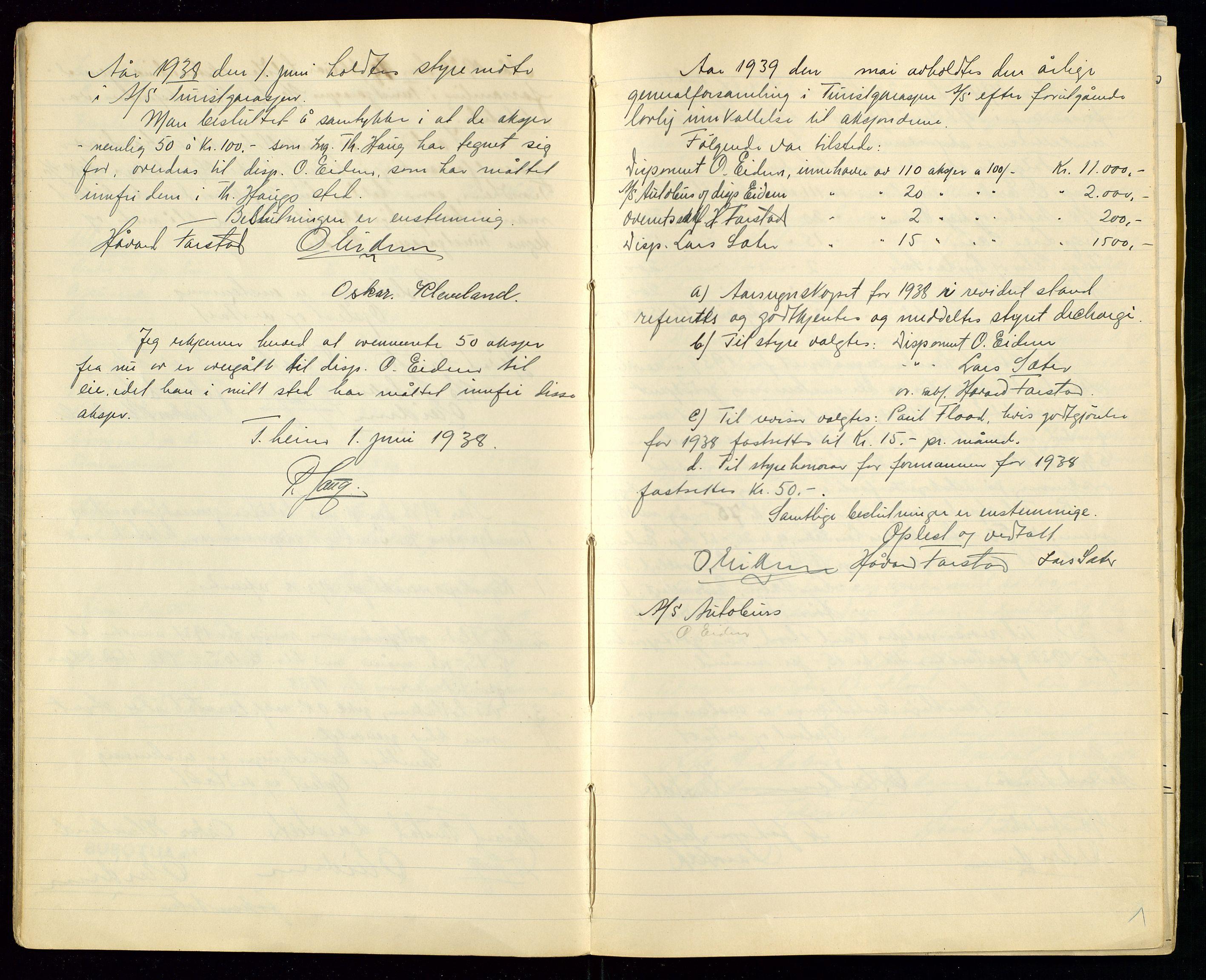 SAST, PA 1515 - Turistgarasjen A/S, A/L0001: Forhandlingsprotokoll, 1937-1958, s. 7